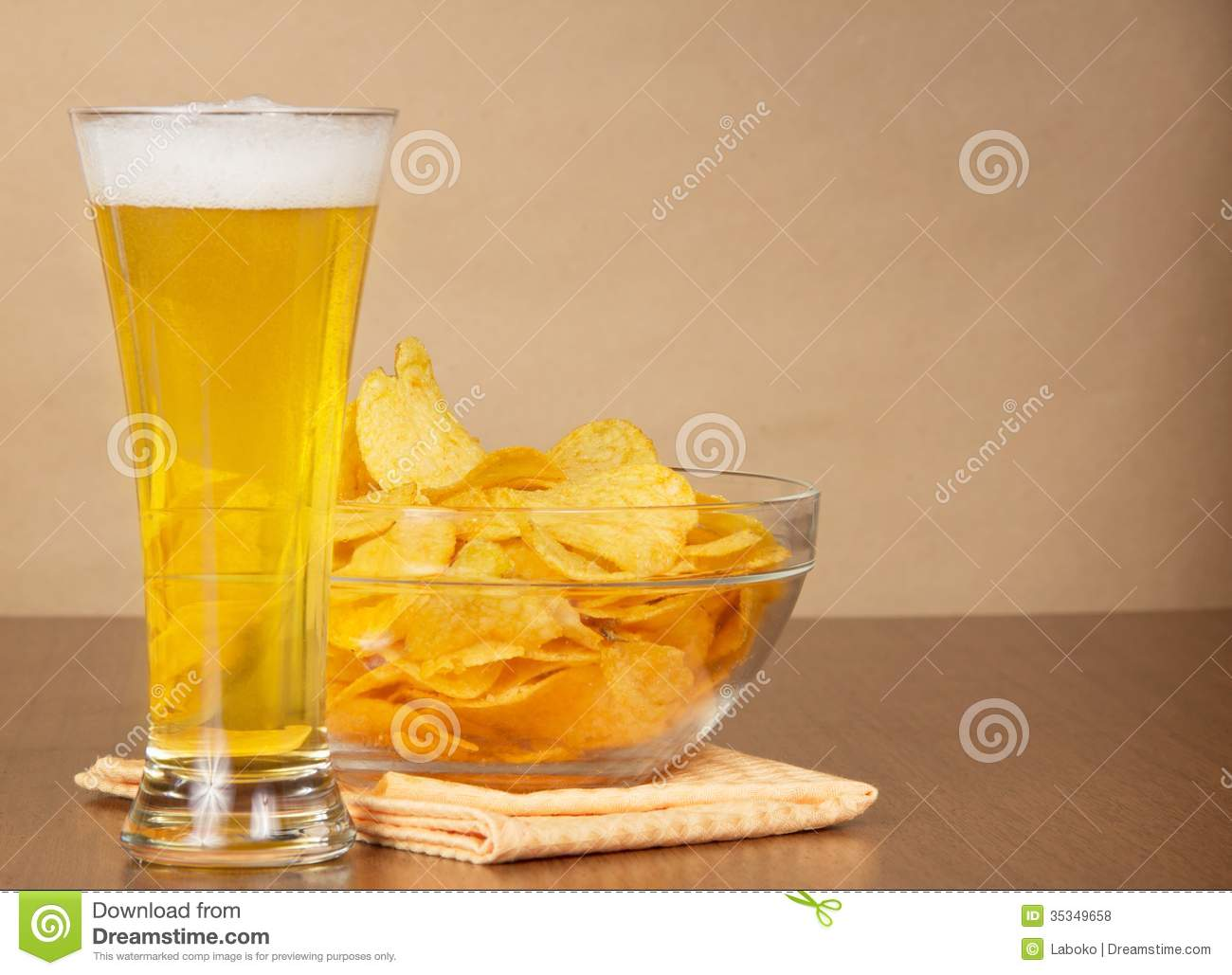 Glass Of Beer, Bowl With Chips Royalty Free Stock Photos ...