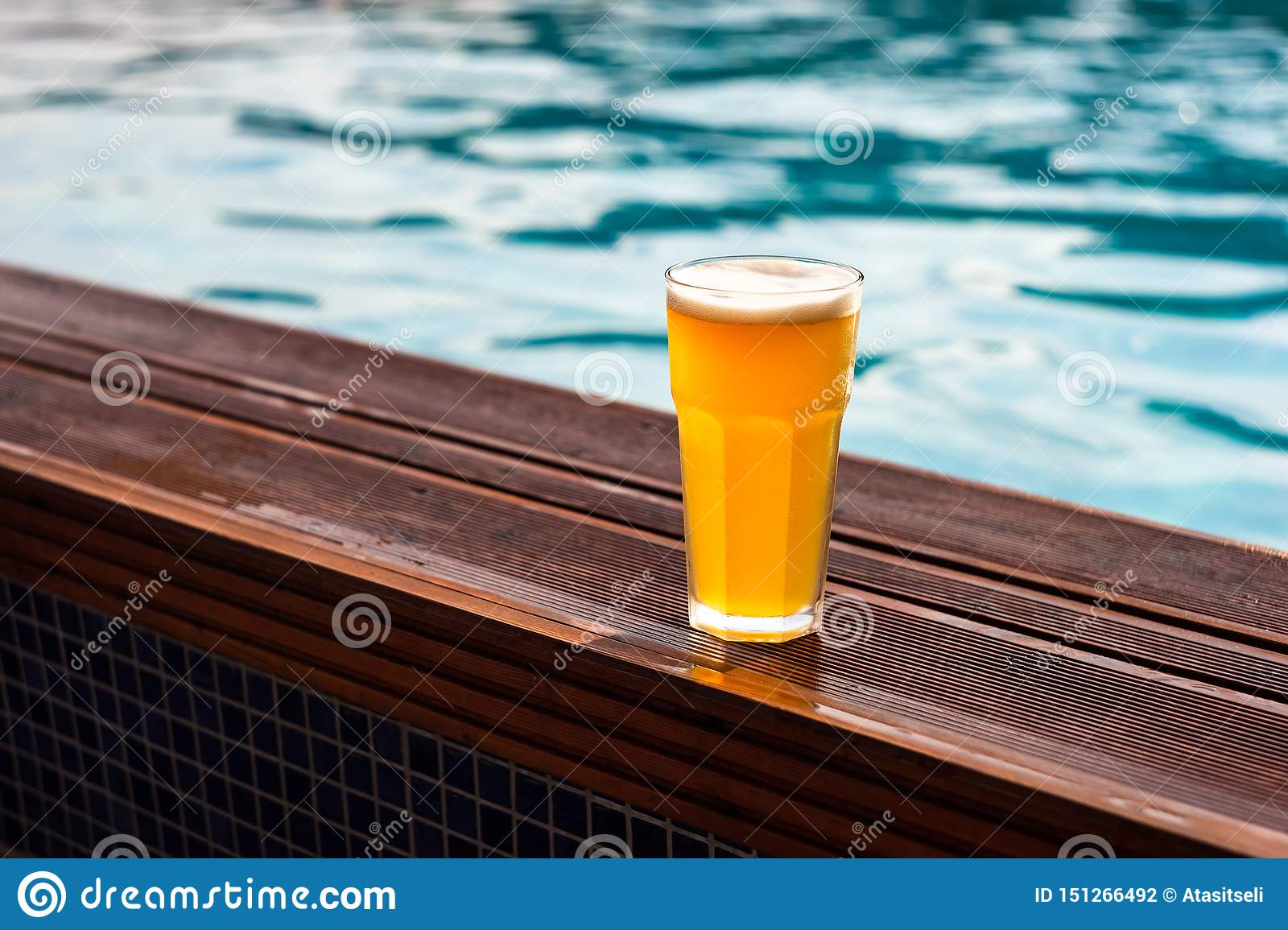 Glass of beer at the pool barside