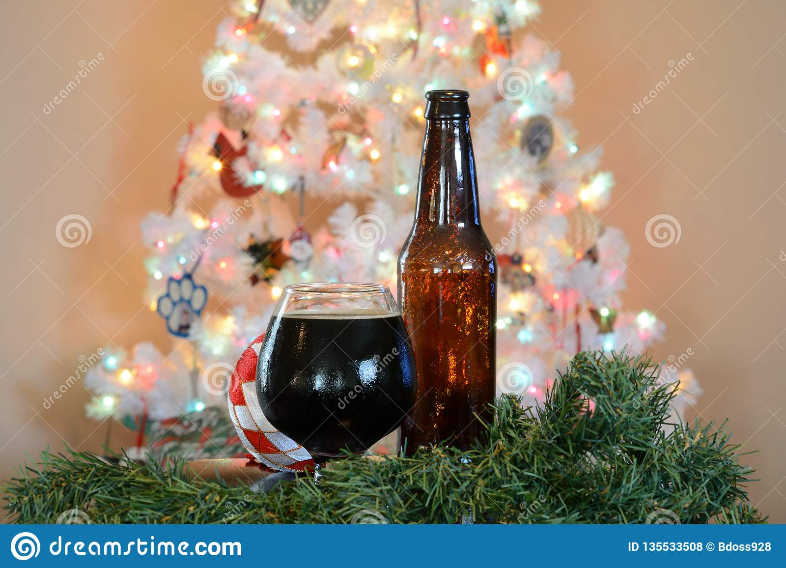 Glass Of Beer Posed In Front Of White Christmas Tree With Colored Lights Stock Photo Image Of Bokeh Colorful 135533508