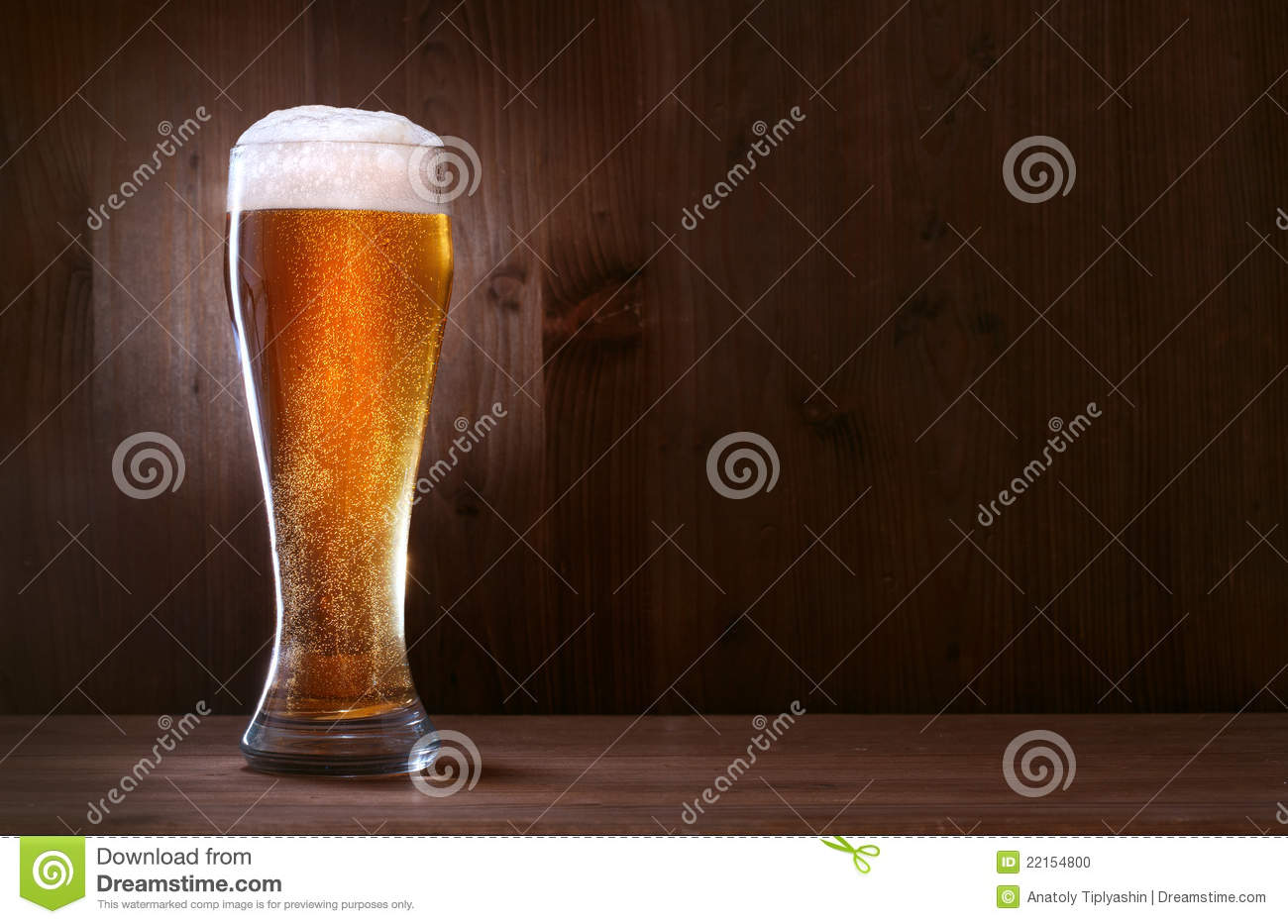 glass beer on wood - photo #1