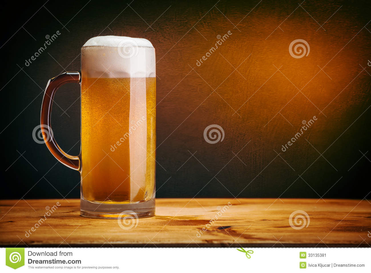 glass beer on wood - photo #11