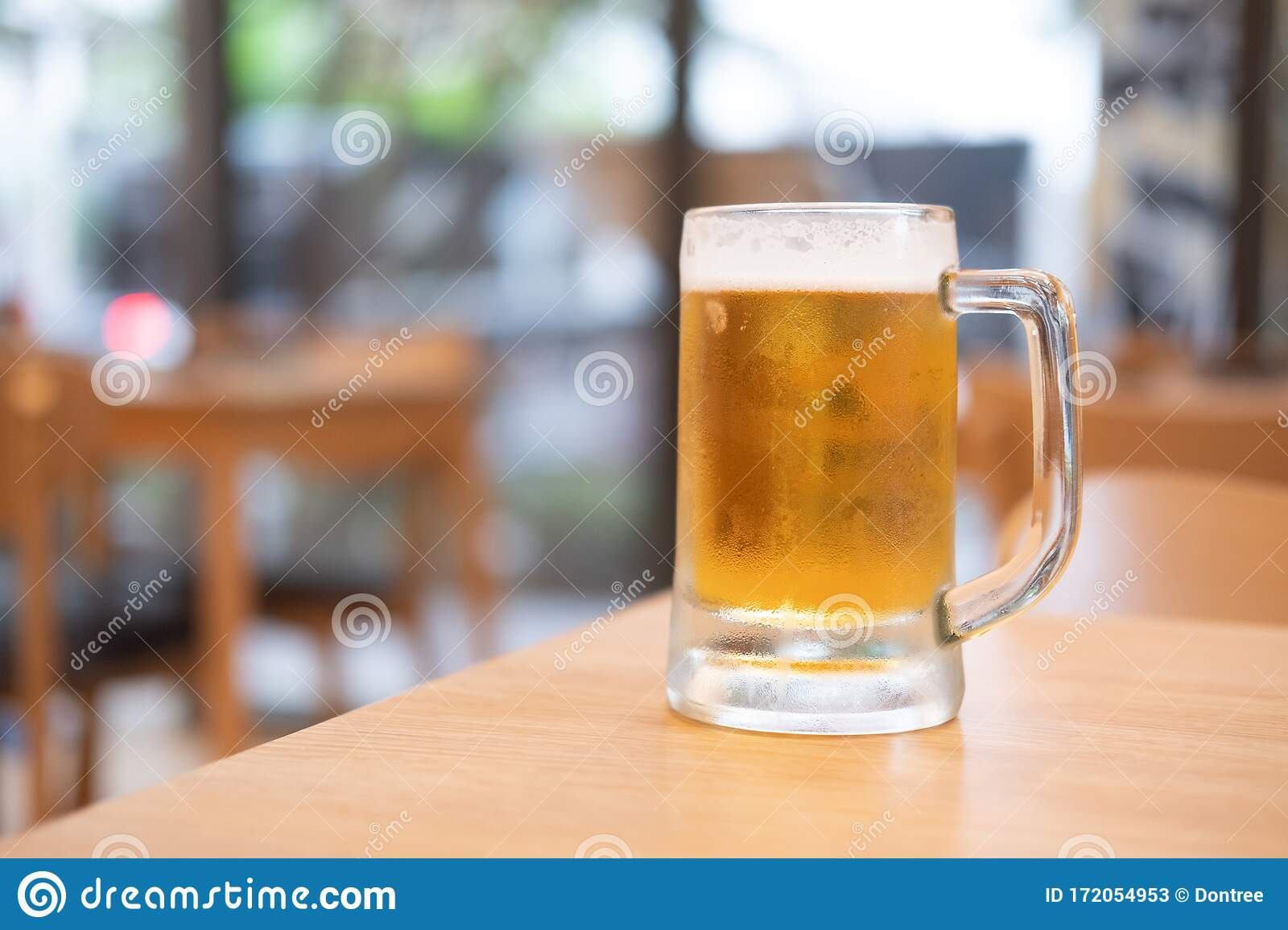 Glass Of Beer On Wooden Table Stock Image Image Of Full Close 172054953