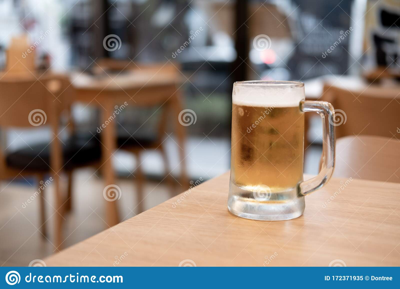 Glass Of Beer On Wooden Table Stock Image Image Of Closeup Golden 172371935