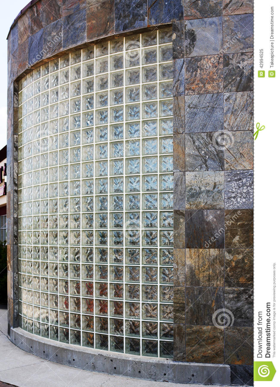 Glass block and slate tile wall stock image image 42994525 for Curved glass wall