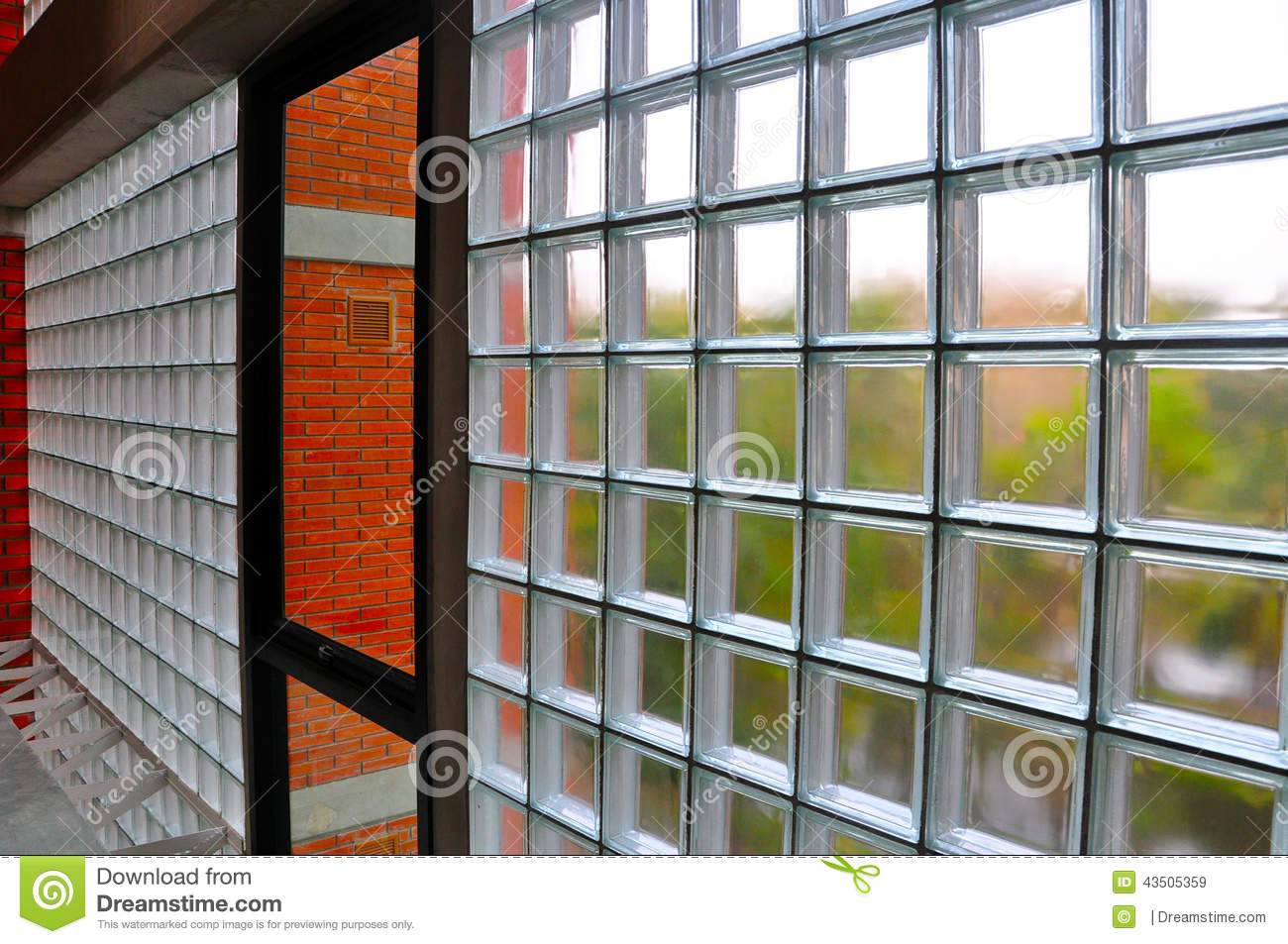 See Through Glass Glass Block Wall Stock Photo Image 43505359