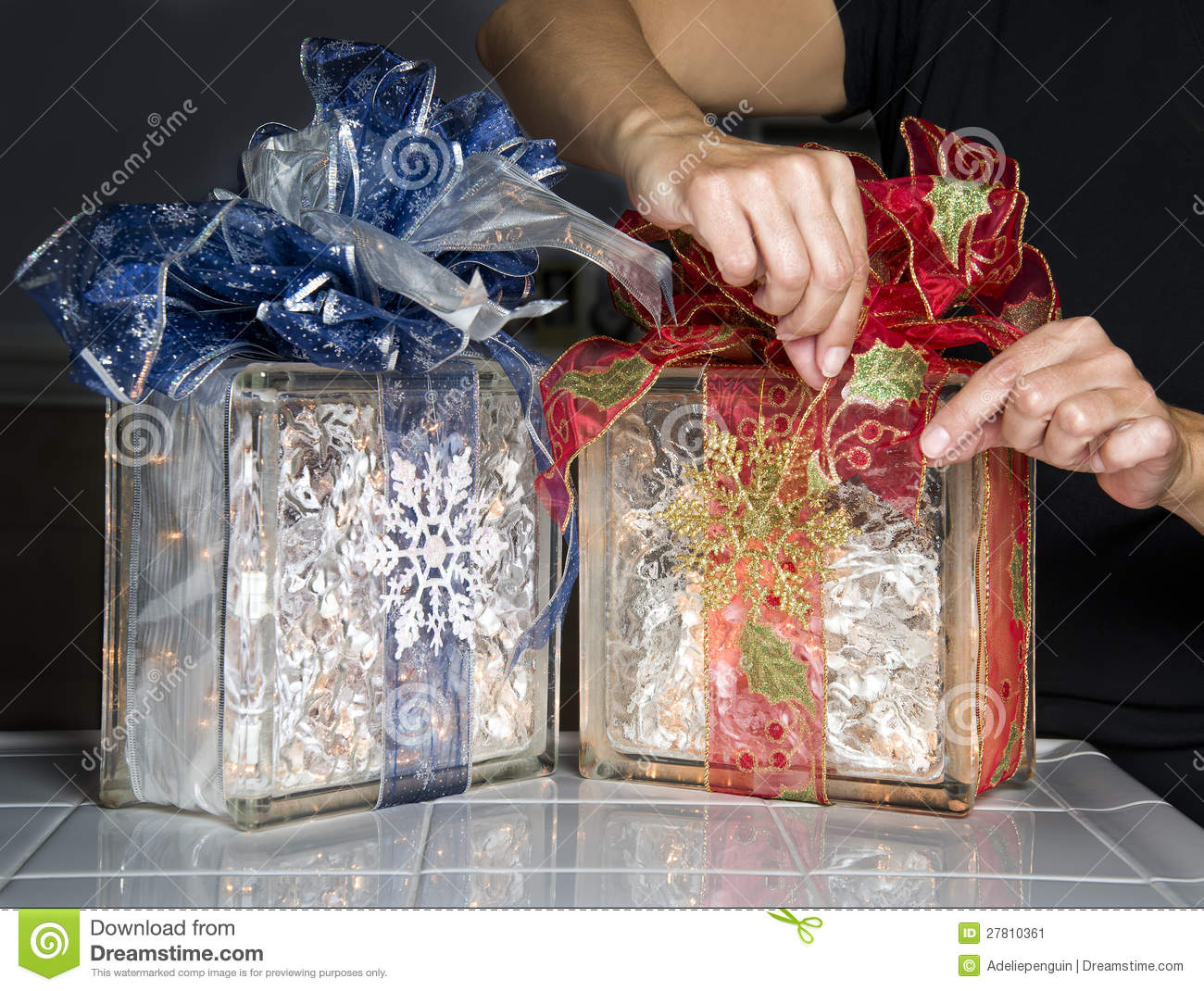 glass blocks with christmas ribbons and lights