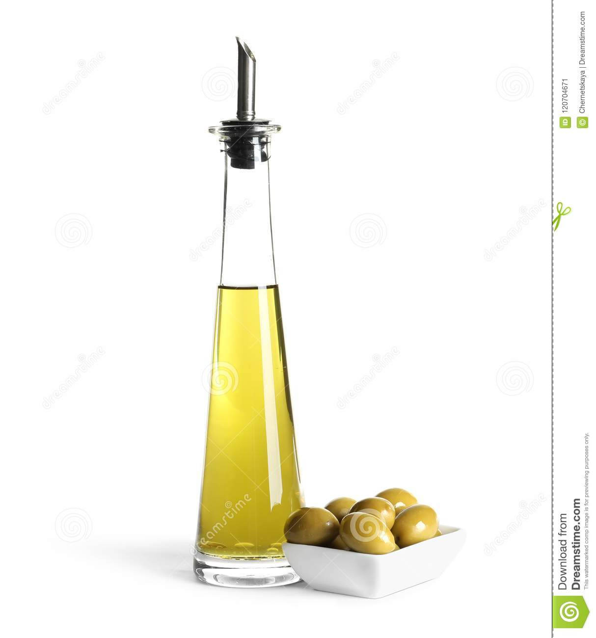 Glass Bottle With Fresh Olive Oil Stock Image Image Of