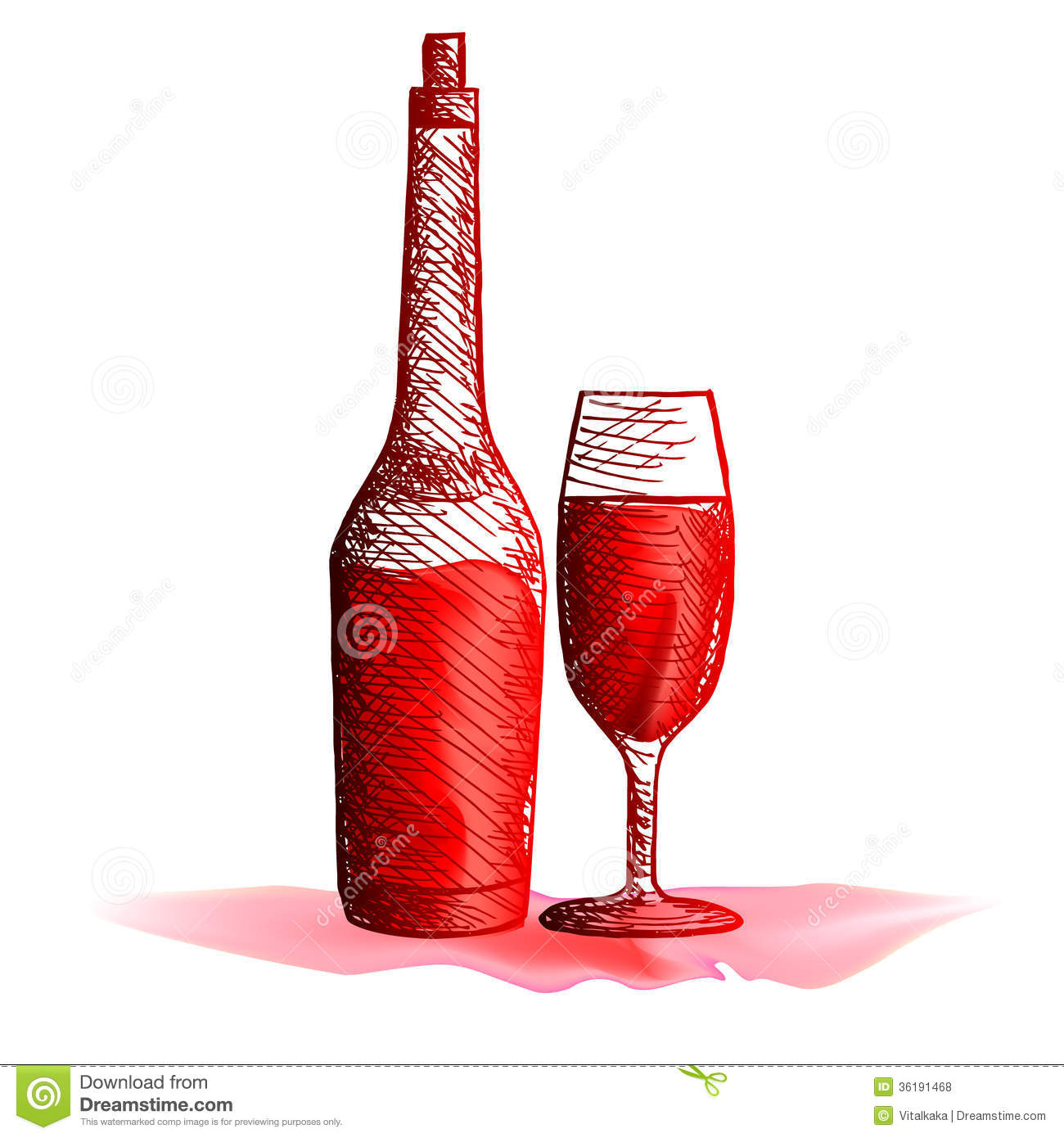 Glass Bottle And Glass With Wine Royalty Free Stock Photos ...