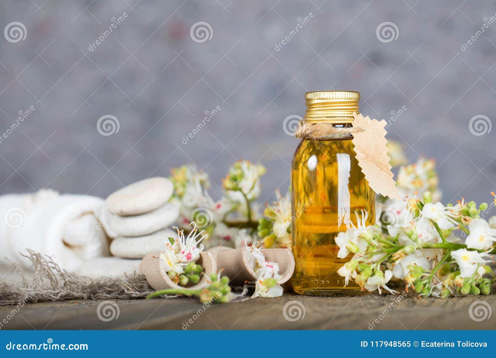 Glass bottle of horse chestnut oil extract.