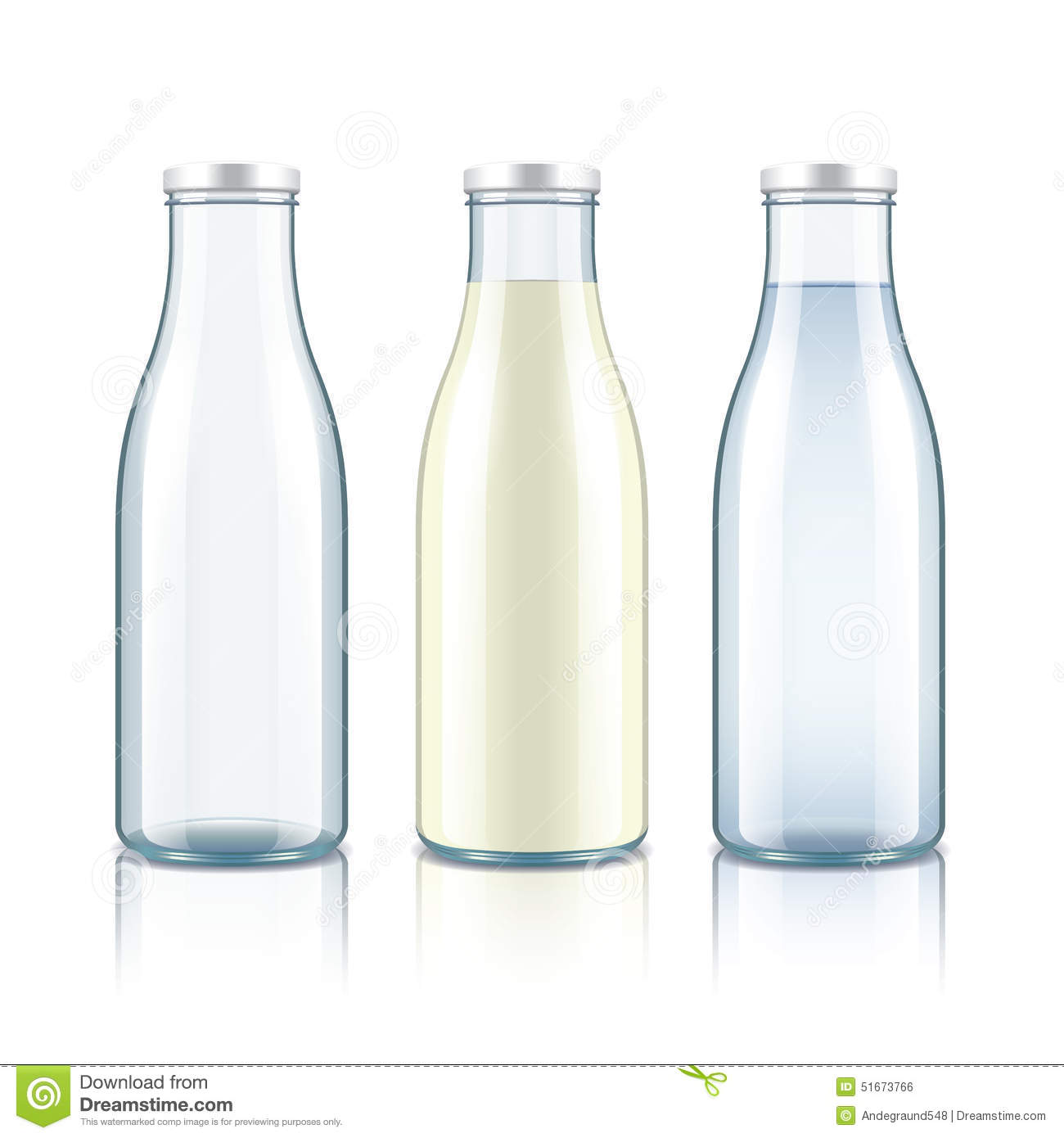 Glass Bottle With Milk Water And Empty Stock Vector