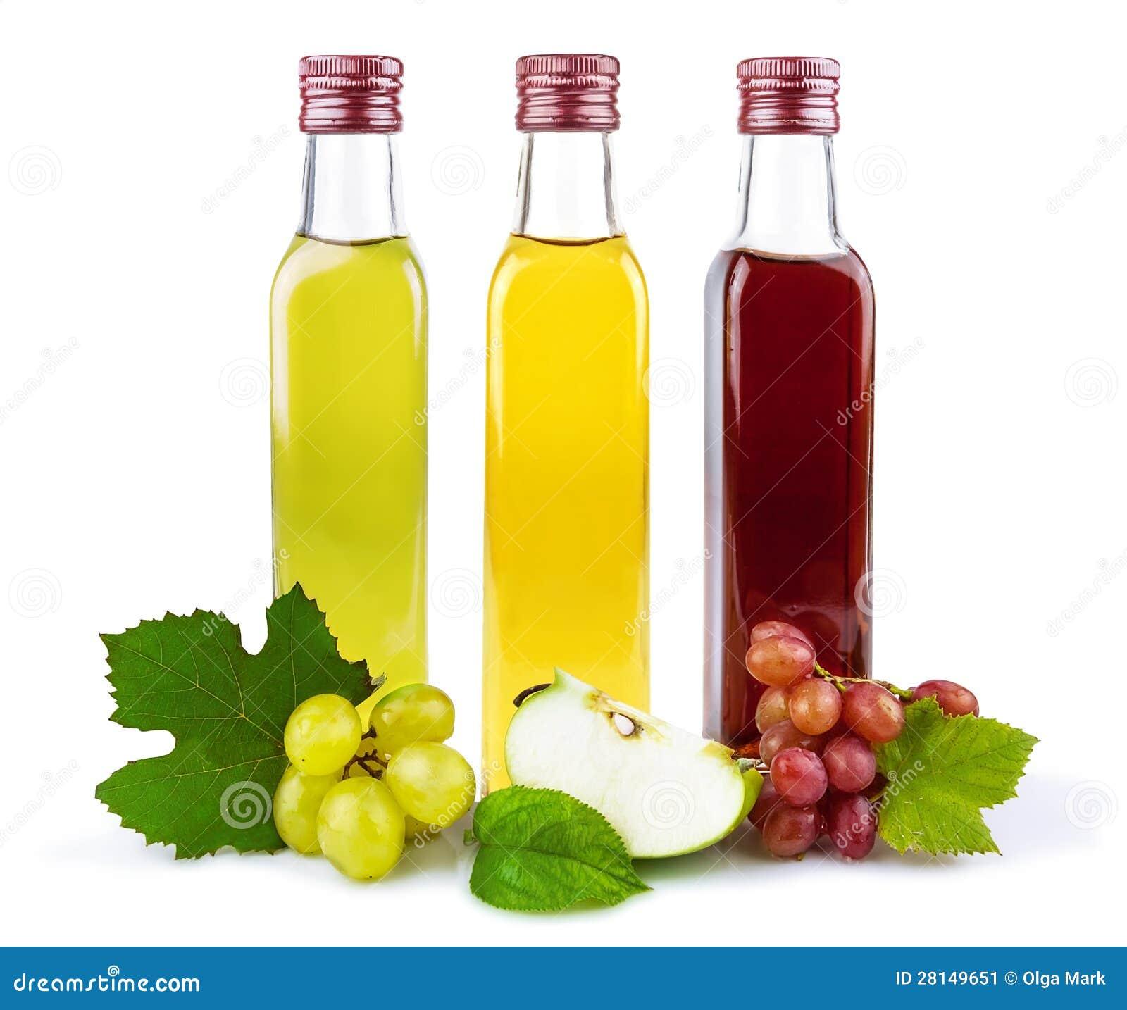 Glass bottles of vinegar