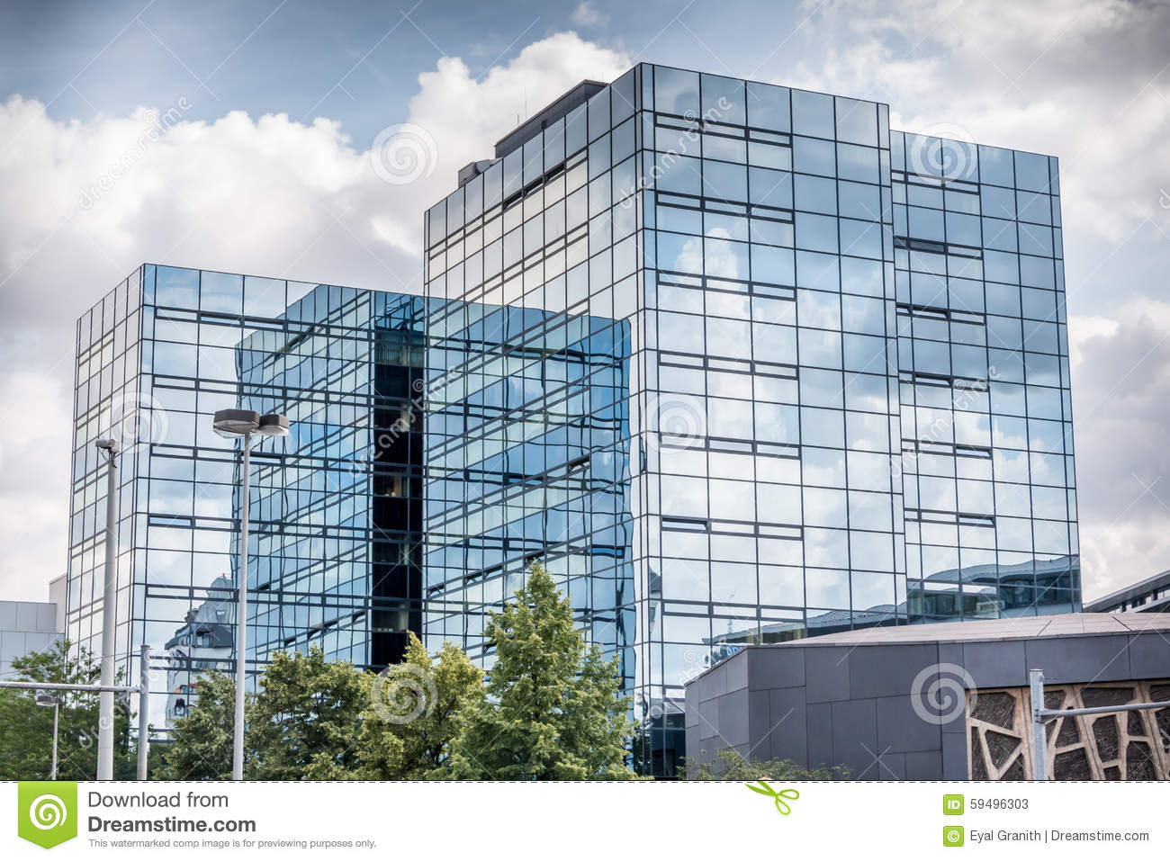 Glass Building With Clouds Reflection Stock Photo - Image ...