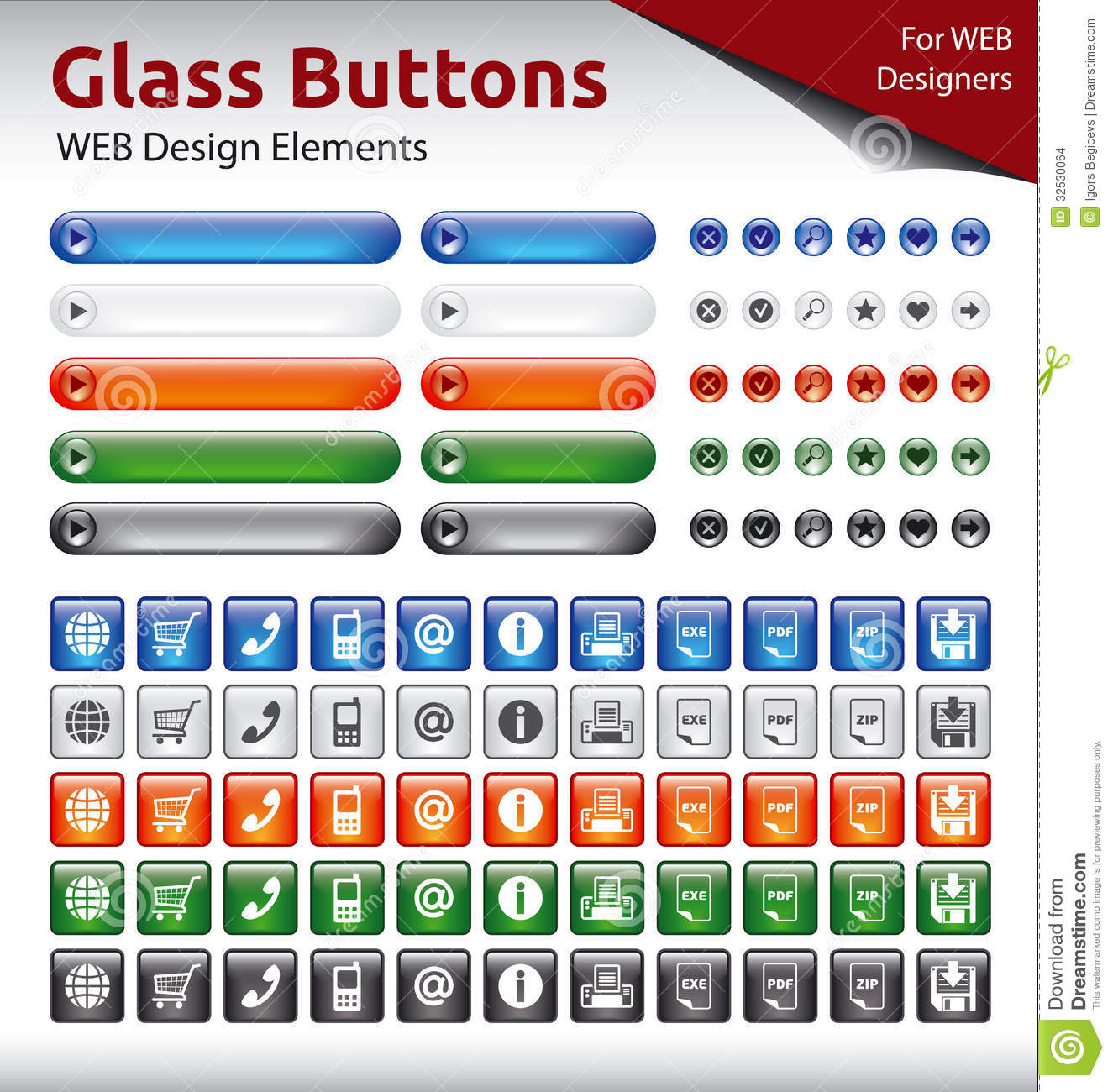 Glass Buttons - WEB Design Elements Stock Images - Image: 32530064