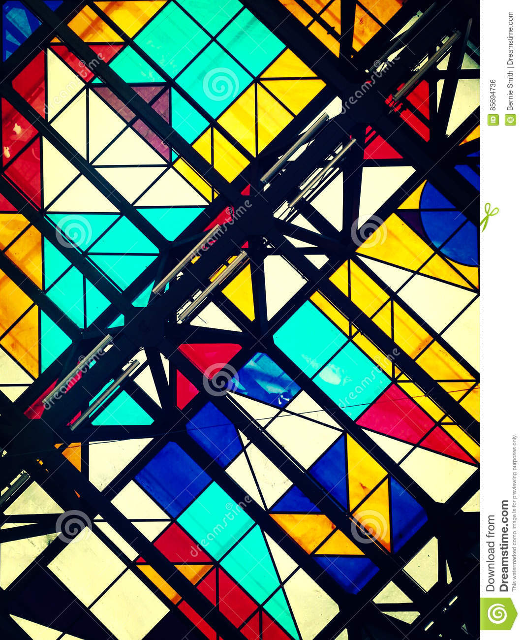 Color photo of glass ceiling with geometric shapes