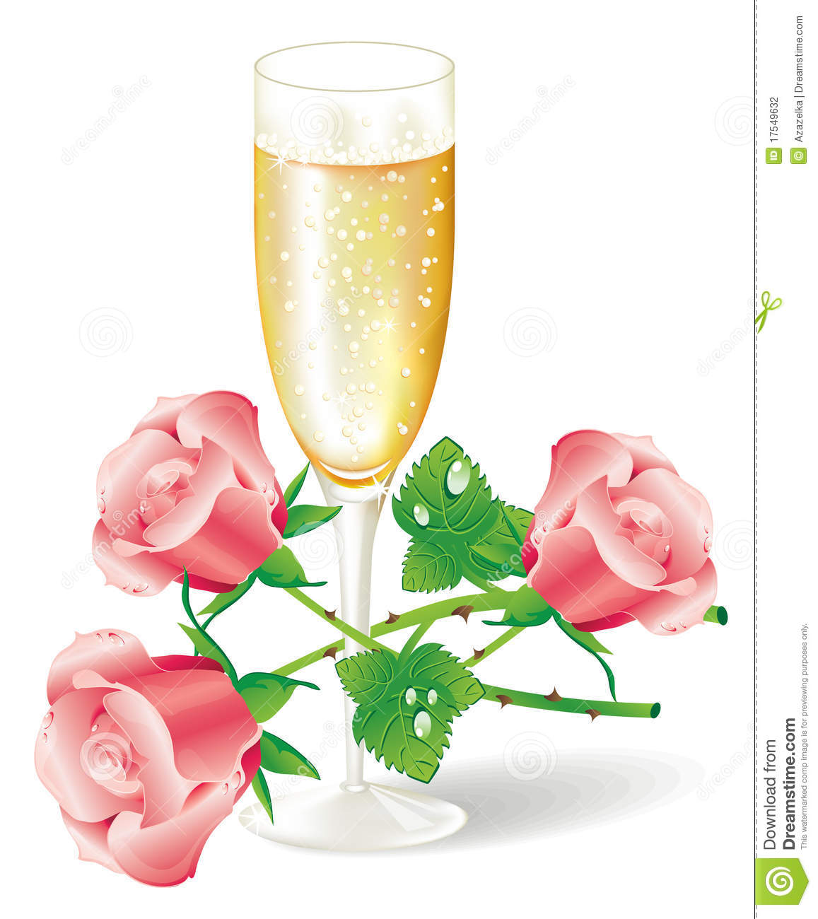 glass of champagne with pink roses stock vector illustration of rh dreamstime com
