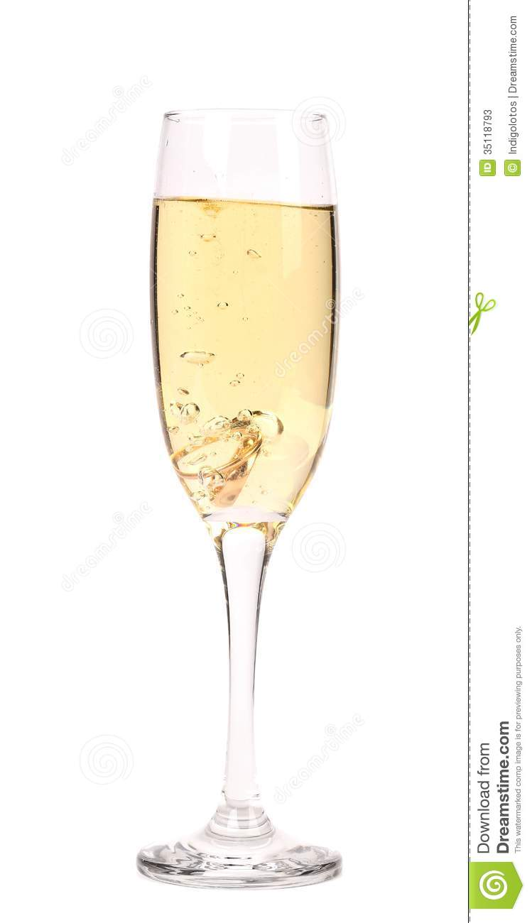 Glass Of Champagne With Wedding Rings Stock Photos