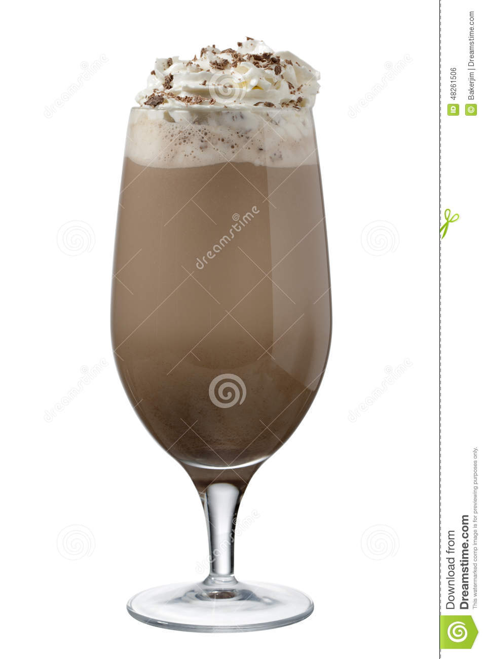 Glass of chocolate shake with whipped cream