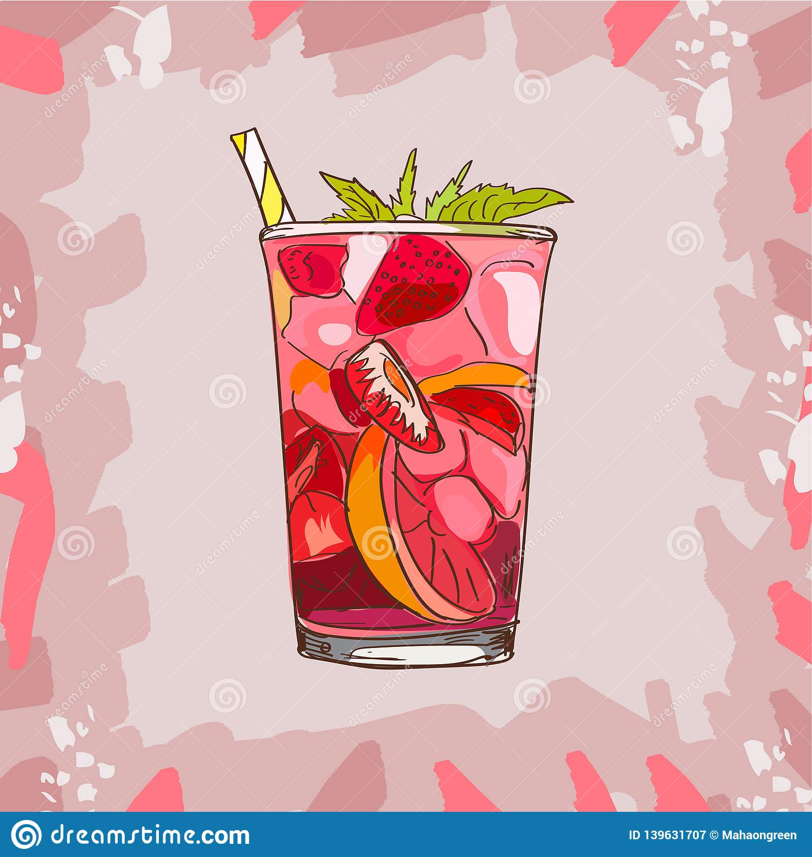 Glass with classic strawberry lemonade - beautiful vector illustration of slices of lemon , strawberries, mint,ice cubes