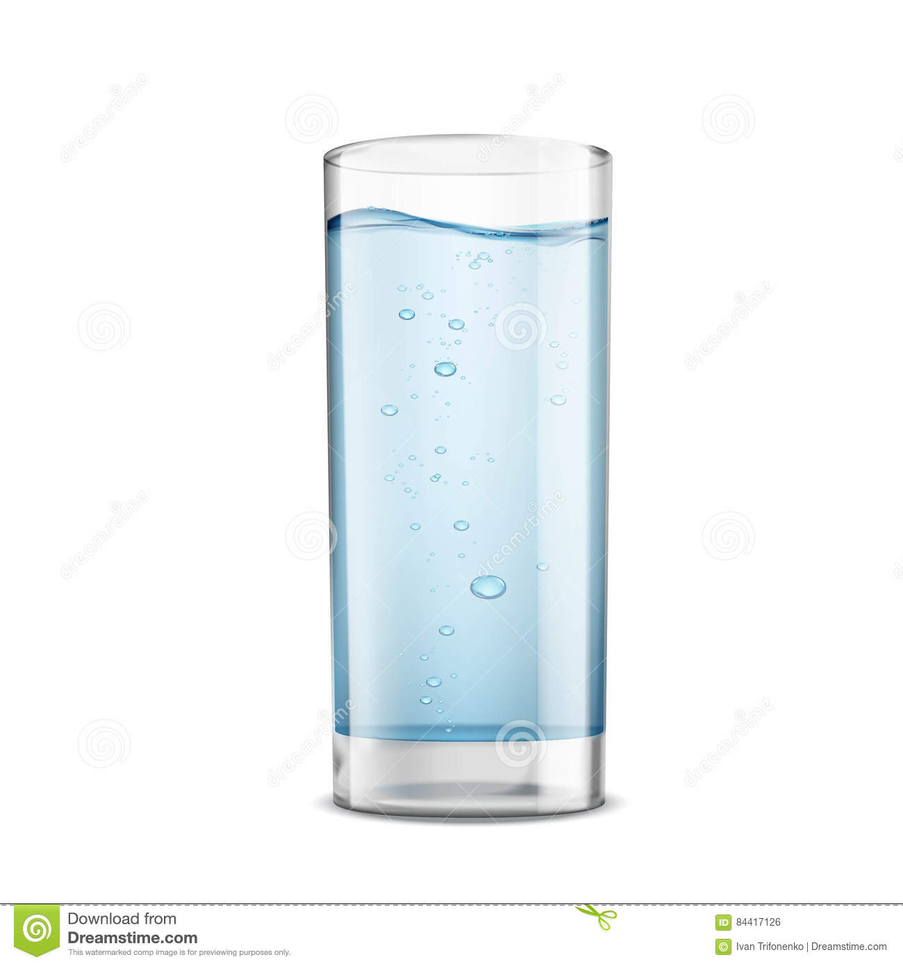 Glass of clean water isolated on white background. Stock