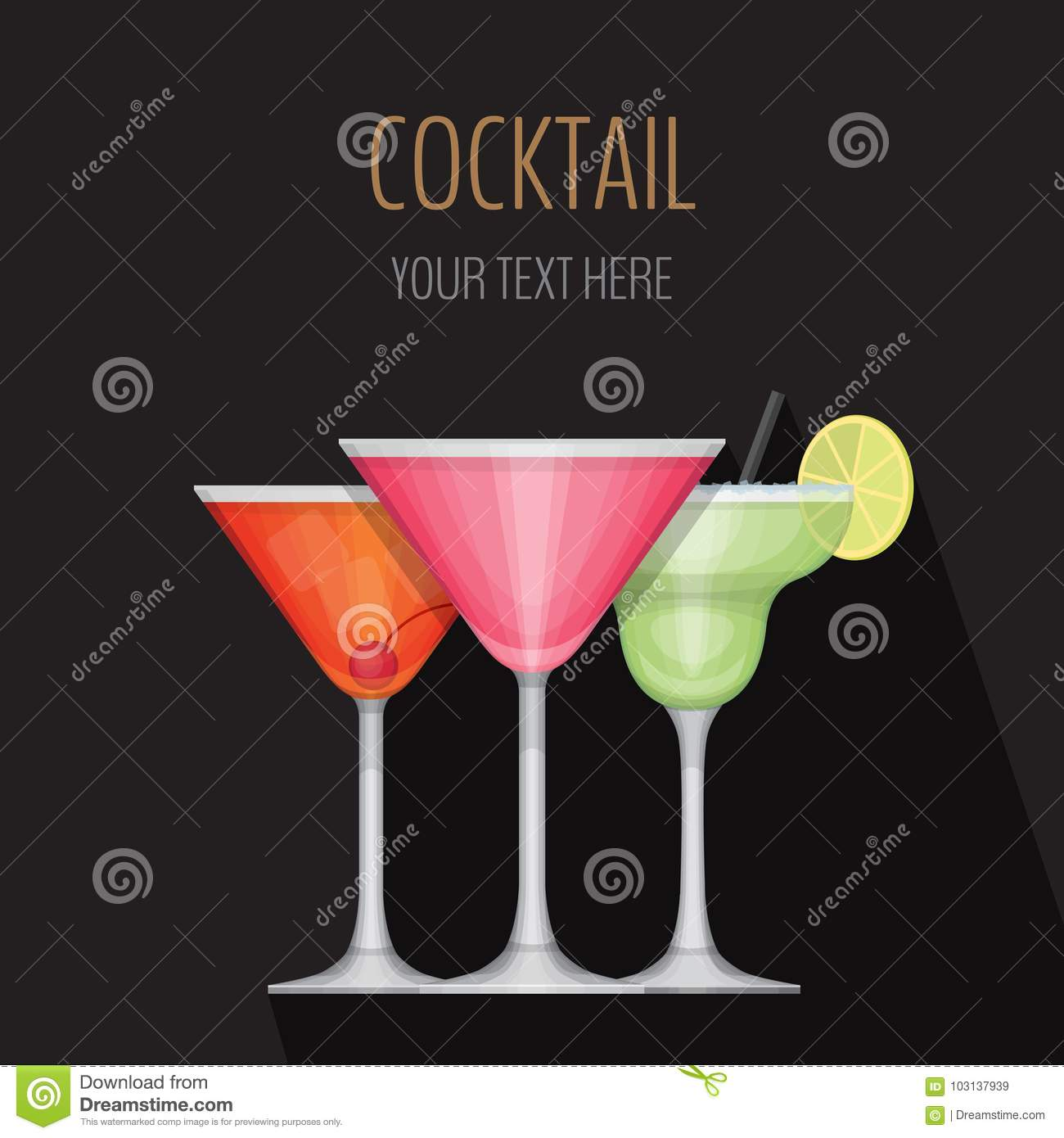 glass of cocktail on black background cocktail bar menu card stock