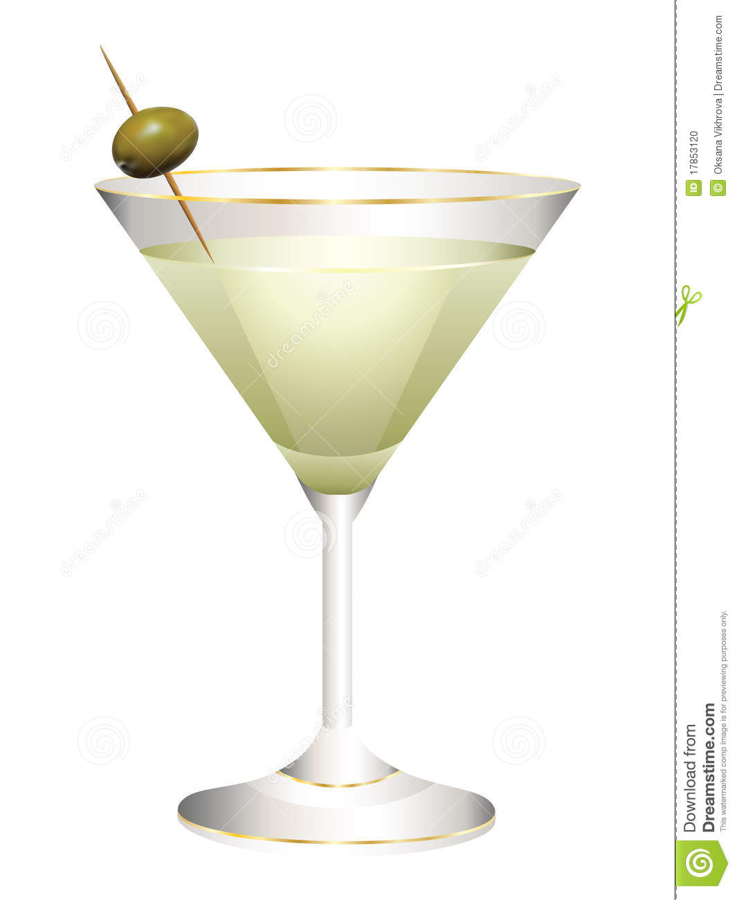 Glass With A Cocktail And Olives. Stock Photo - Image: 17853120