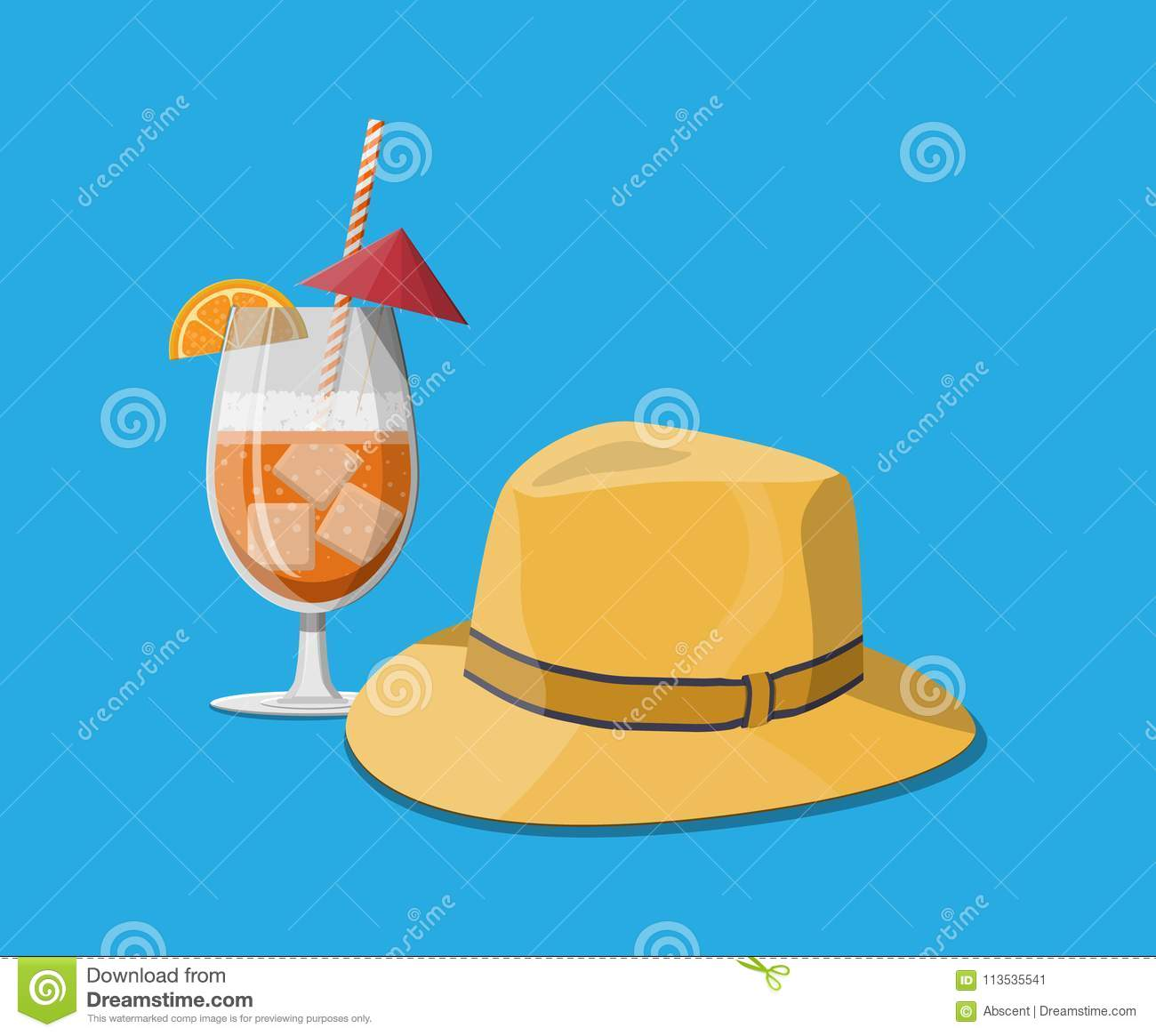 903cc1d90b5 Orange slice and umbrella. Lemonade or fruit juice with ice cubes.  Refreshment beach drink with straw. Men straw hat. Vector illustration in  flat style
