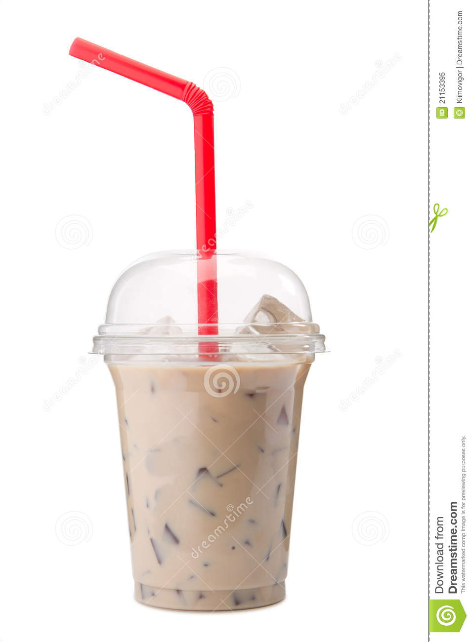 A Glass Of Cold Ice Coffee With Milk Stock Image - Image ...