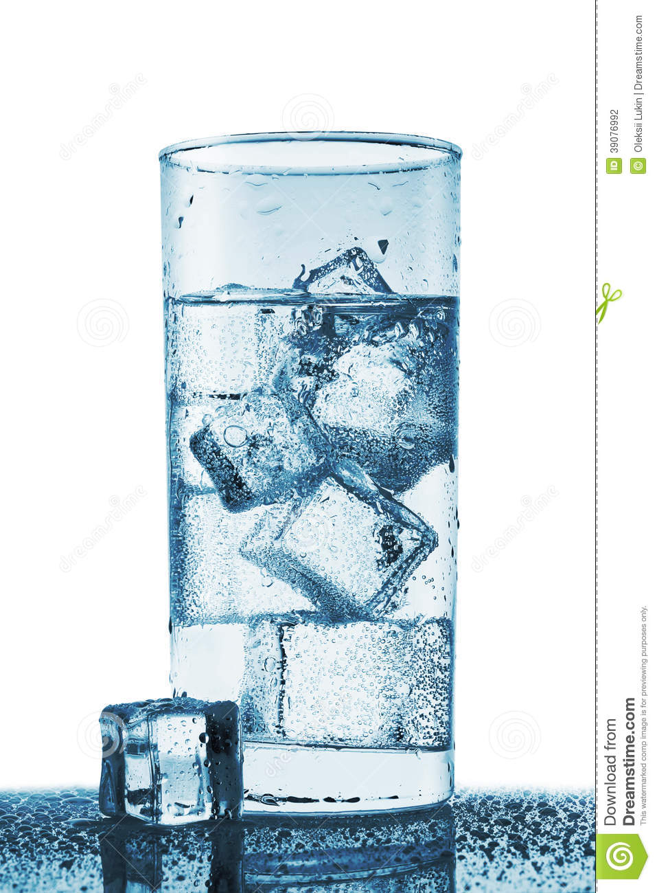Transparent Ice Cube With Reflection On Blue Glass With ...
