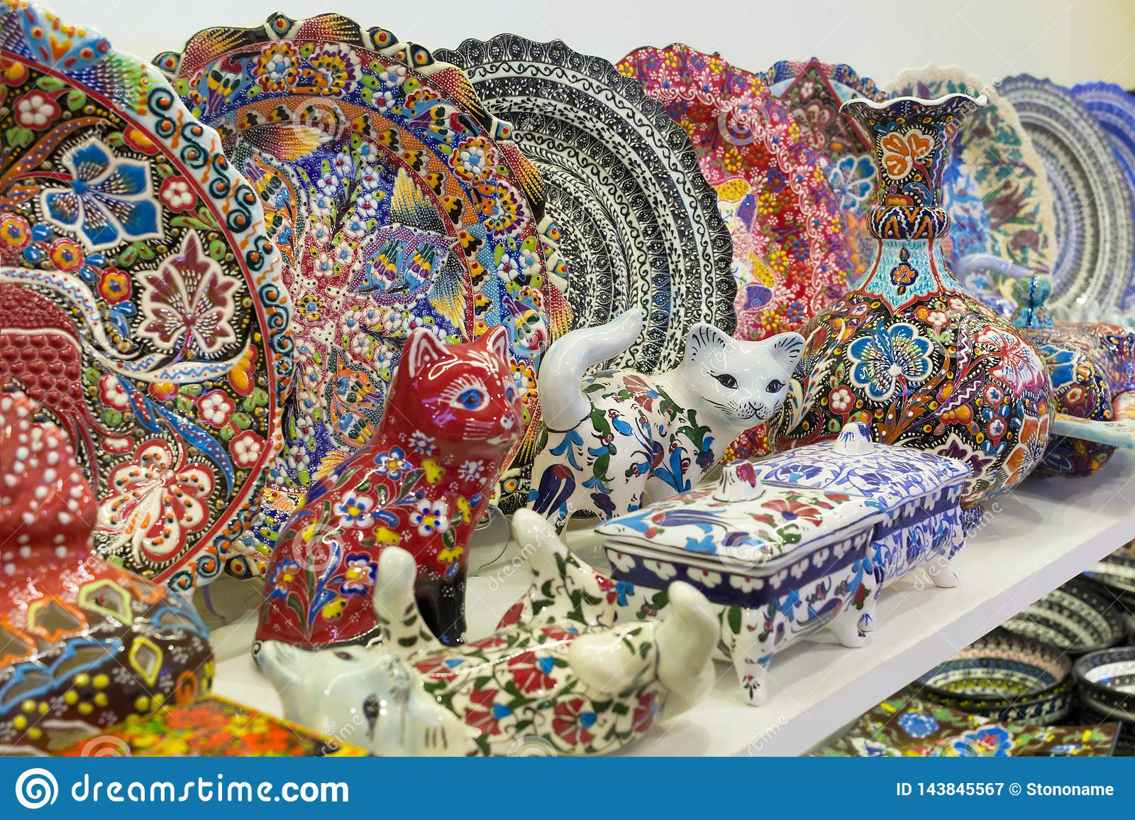 Glass, Colorful, Traditional, Decorative Turkish Plates On ...