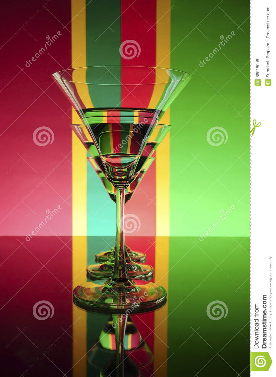 Glass on a colors background (Red ,Green ,Yellow)