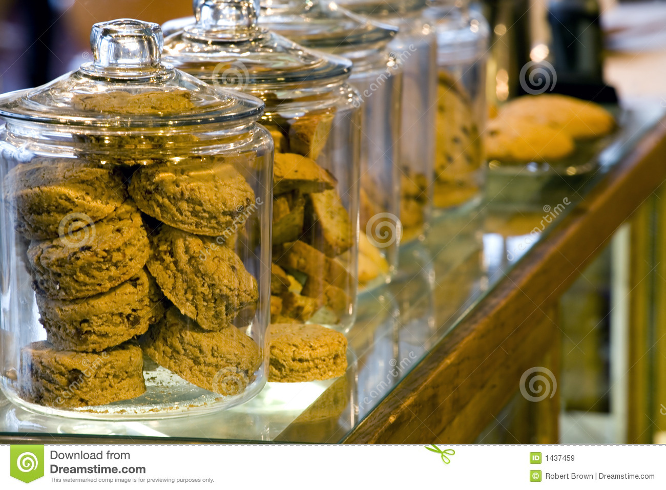 Glass Cookie Jars In A Coffee Shop Royalty Free Stock