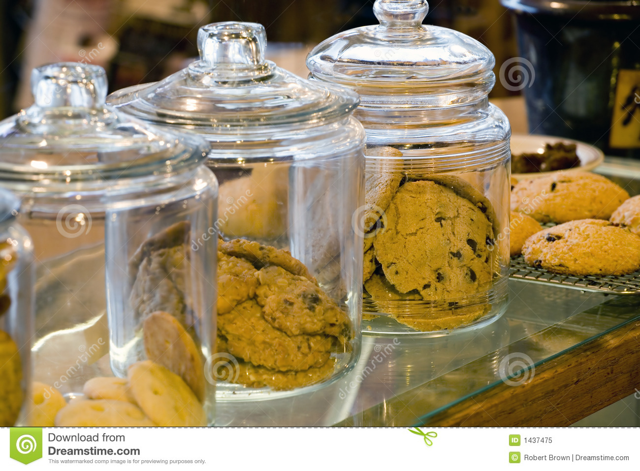 Dining table set glass - Glass Cookie Jars In A Coffee Shop Royalty Free Stock