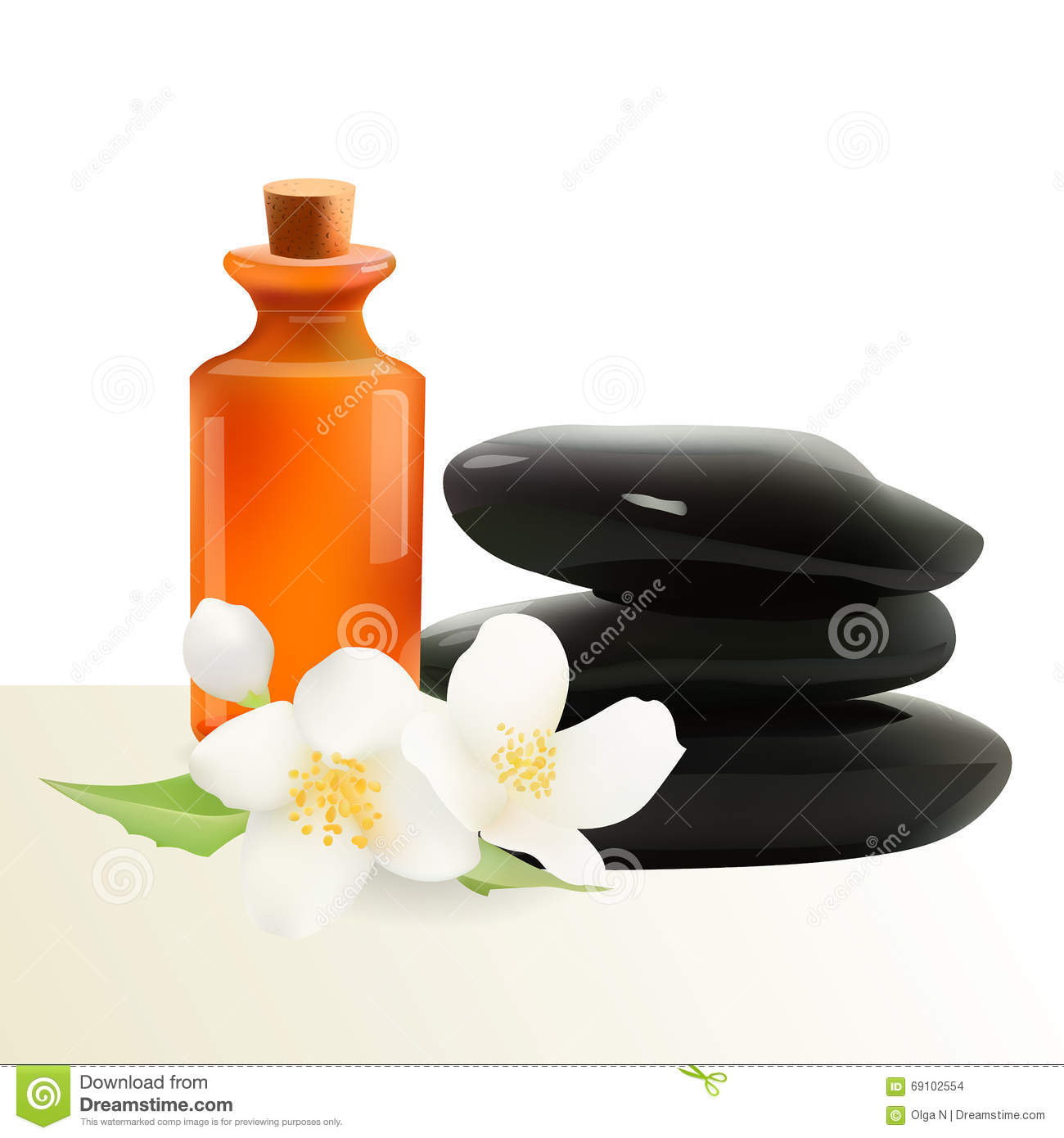 Glass Cosmetic Bottle And Spa Stones With Jasmine Flower Vector