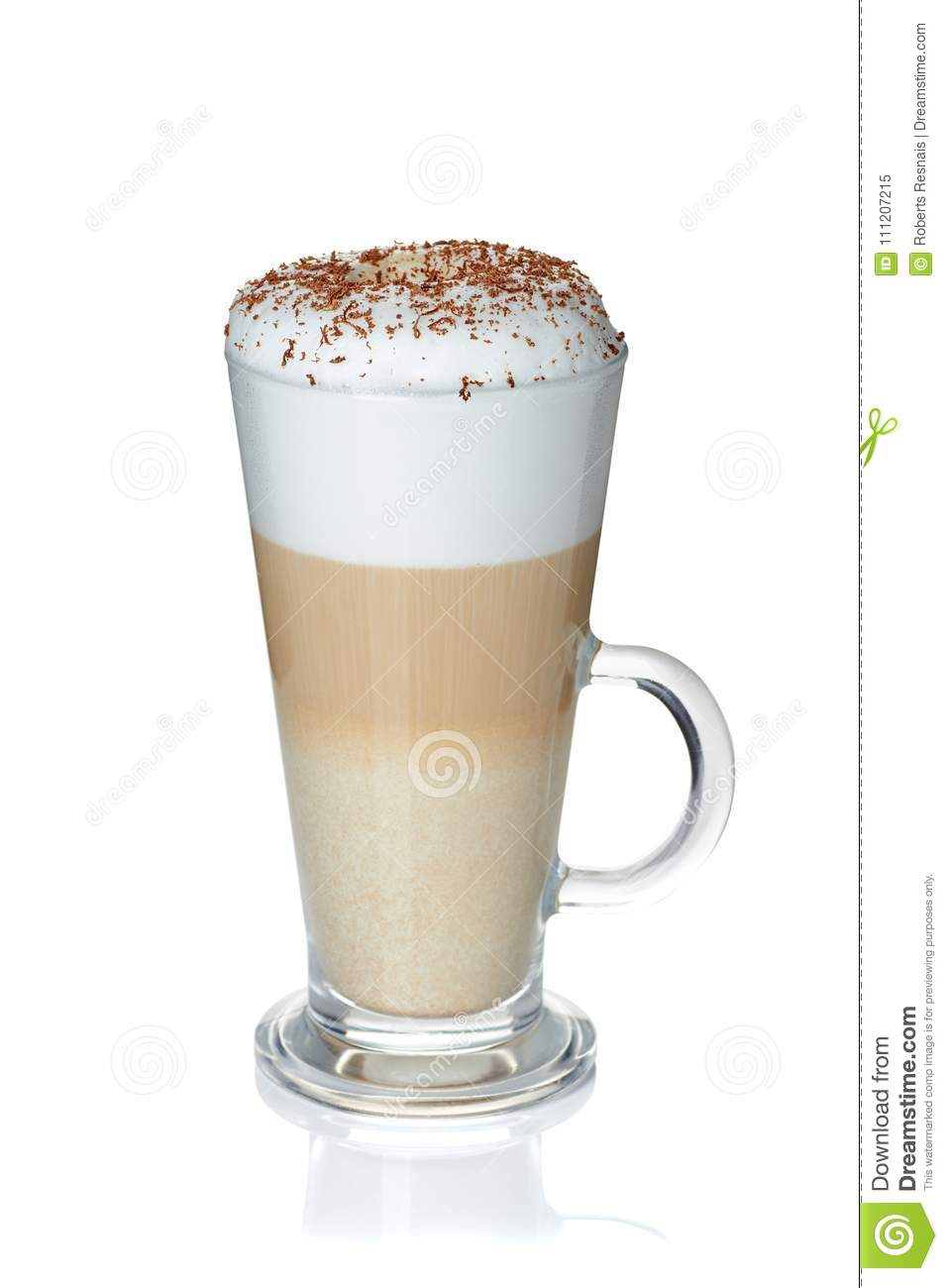 Glass cup of coffee latte on white
