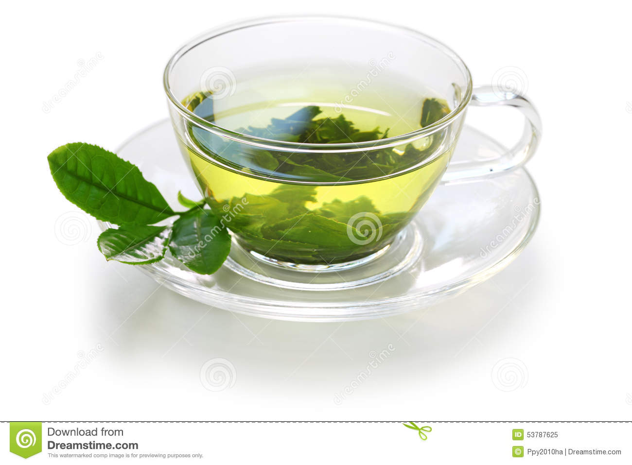 Glass cup of Japanese green tea