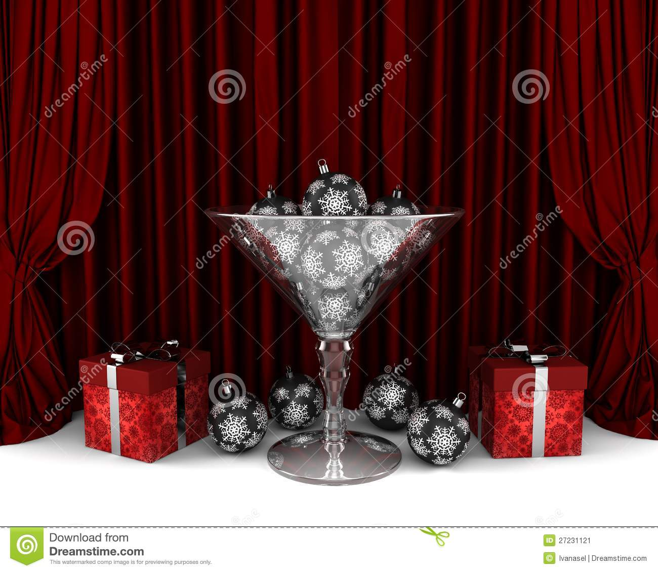Glass decorations - Glass Cup With New Year Decorations And Gifrts