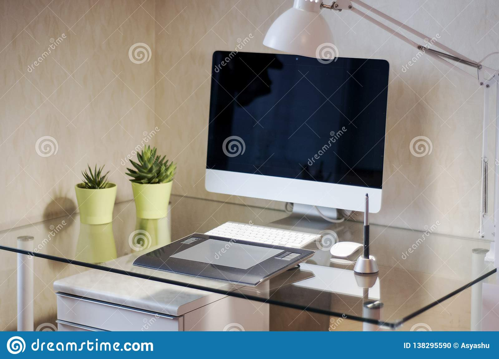 Glass Desk With Computer And Graphic Tablet Modern Desk Workspace Designer S Workspace Stock Photo Image Of Computer Drawing 138295590