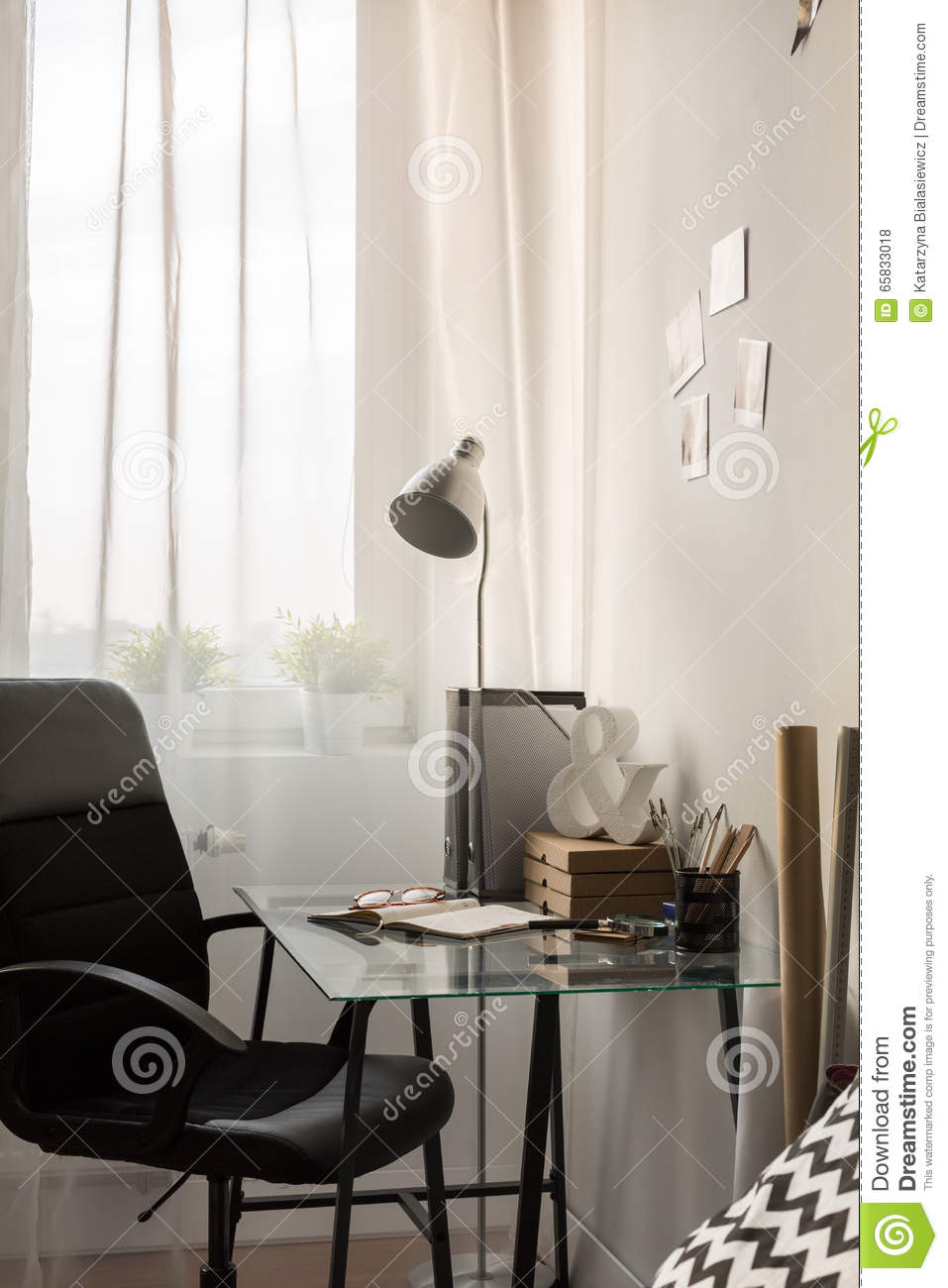 Study Room Glass: Glass Desk In Study Room Stock Photo. Image Of Business