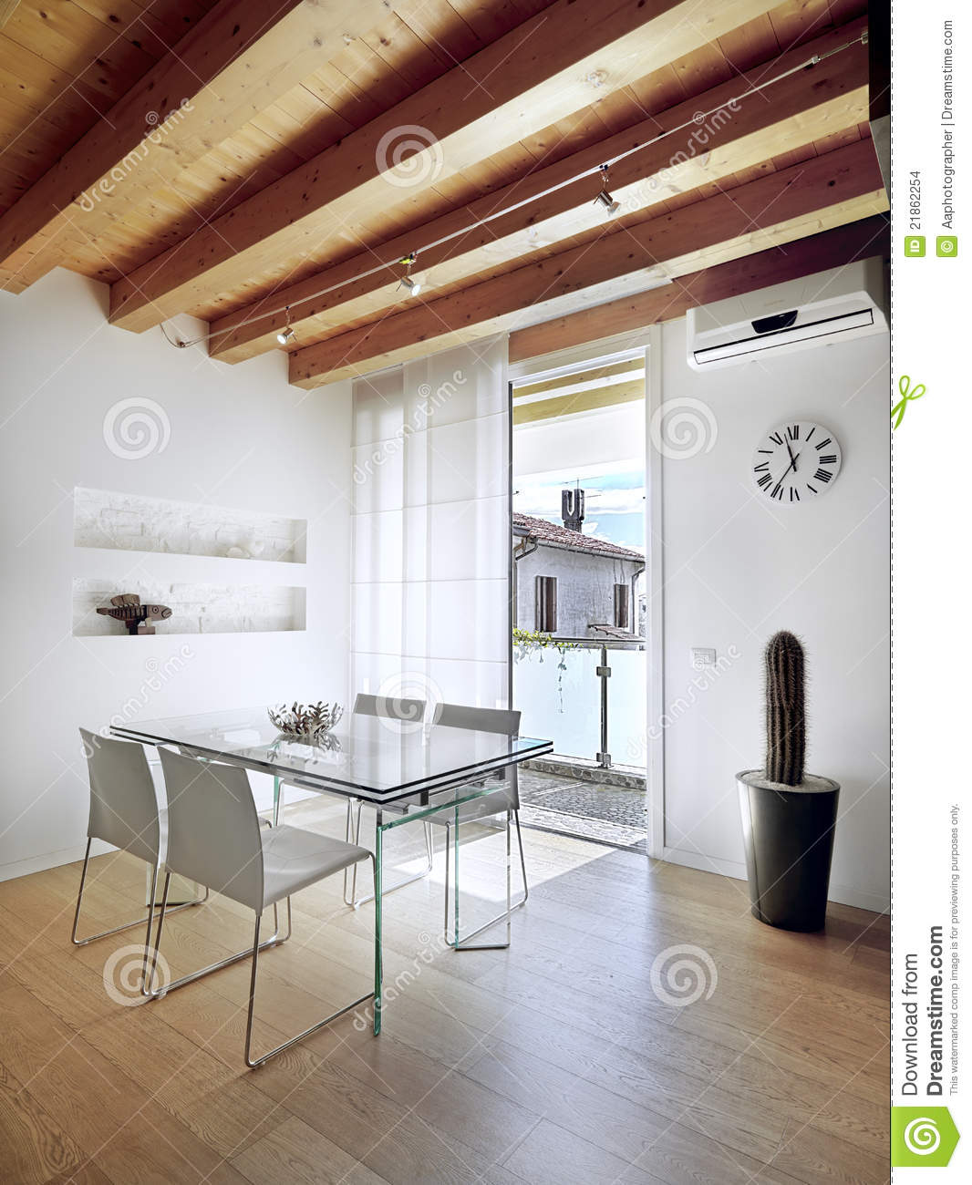 Glass Dining Table In Modern Apartment Stock Photo - Image of home ...