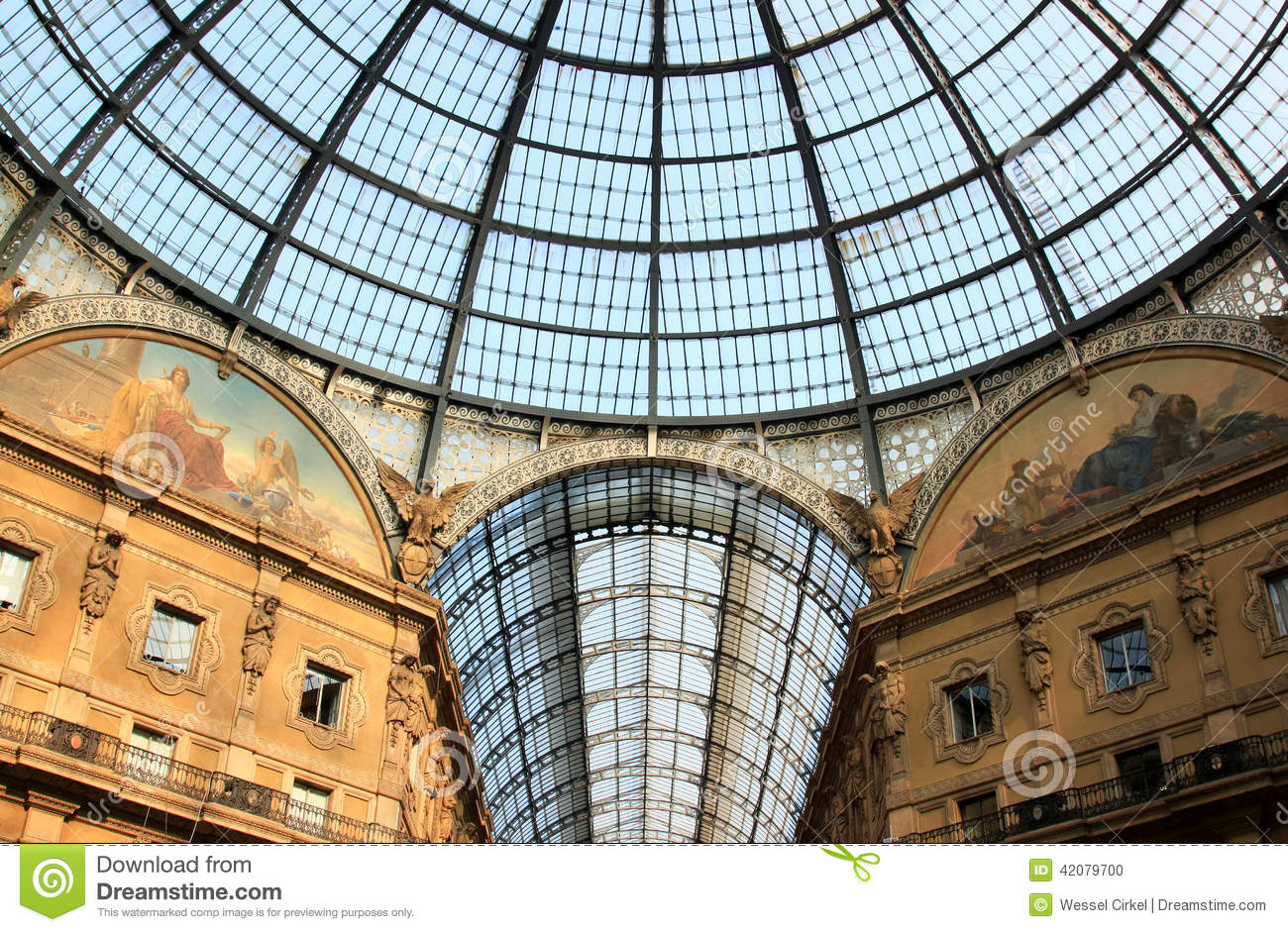Glass Dome Of Galleria Vittorio Emanuele Ii Milan Stock
