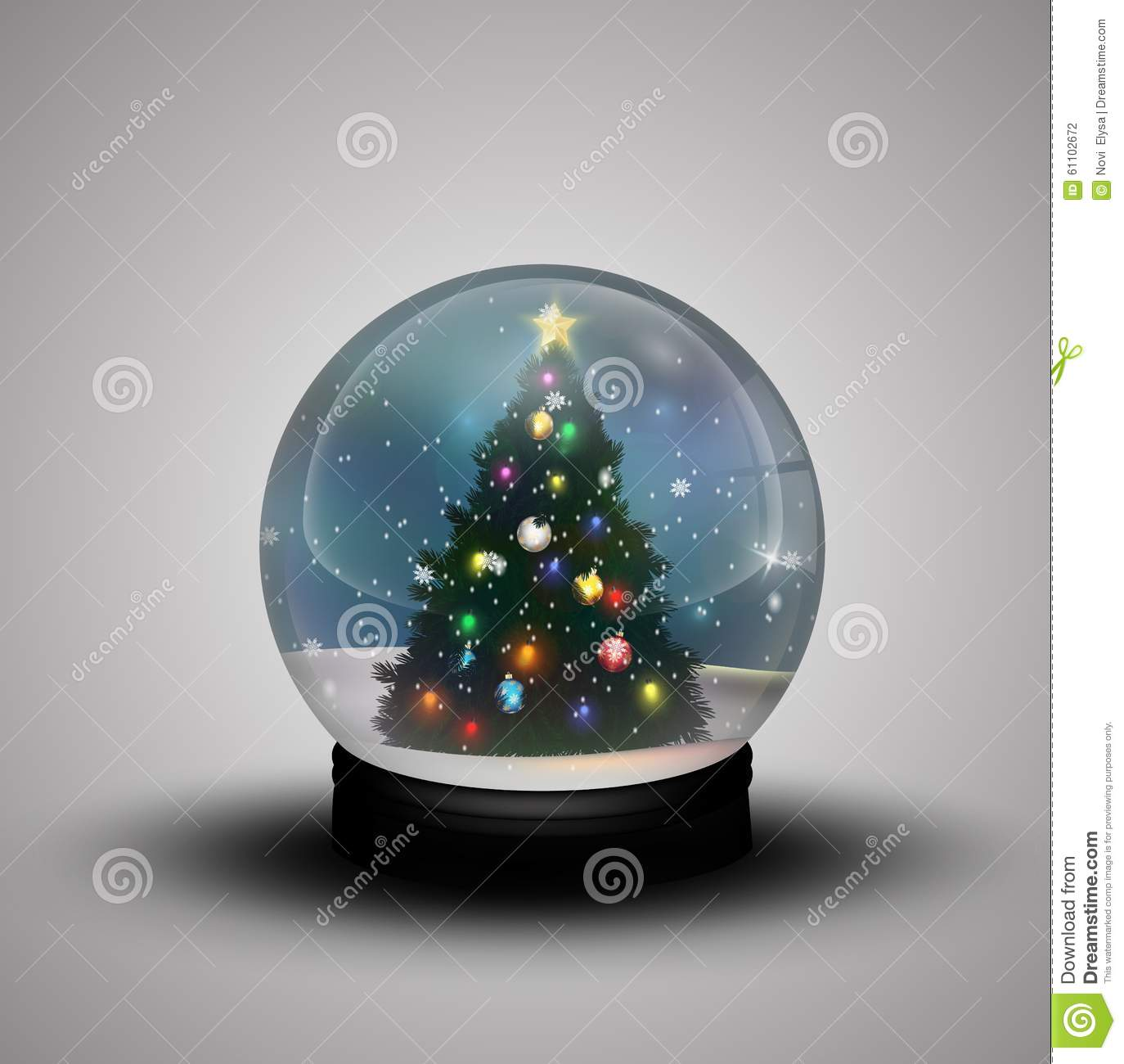 glass dome winter with realistic christmas snow globe with christmas tree