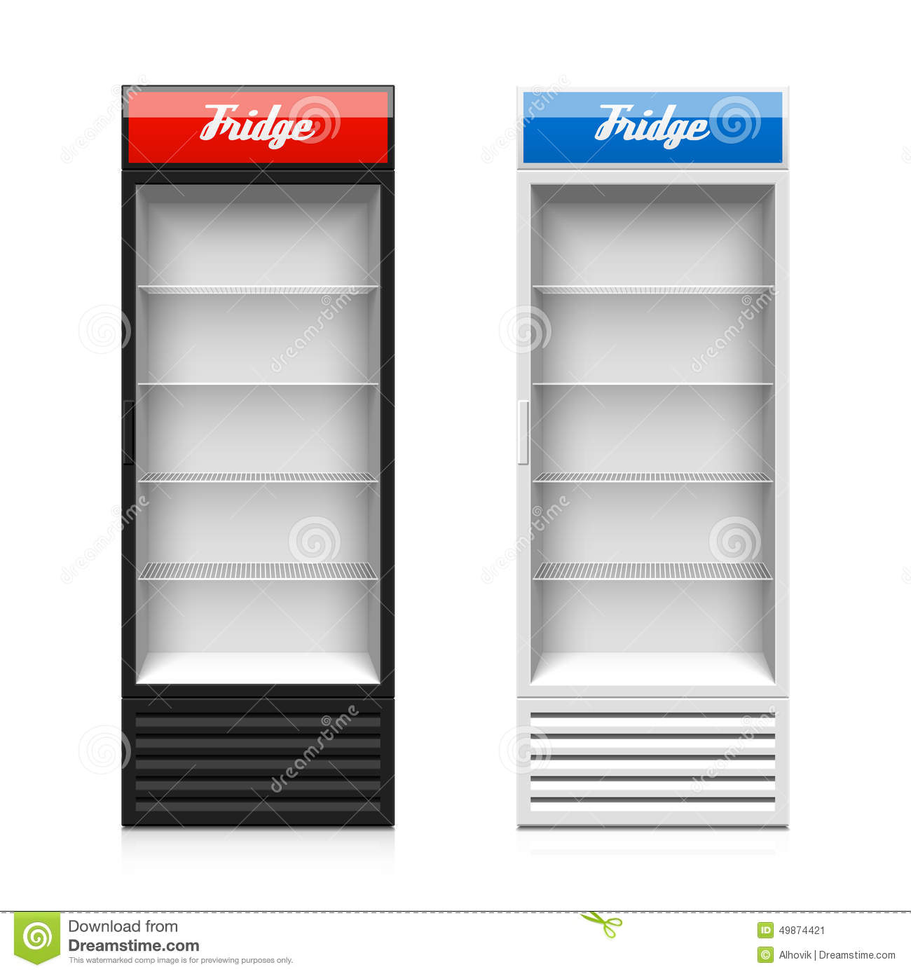 Glass Door Display Fridge Stock Vector Illustration Of