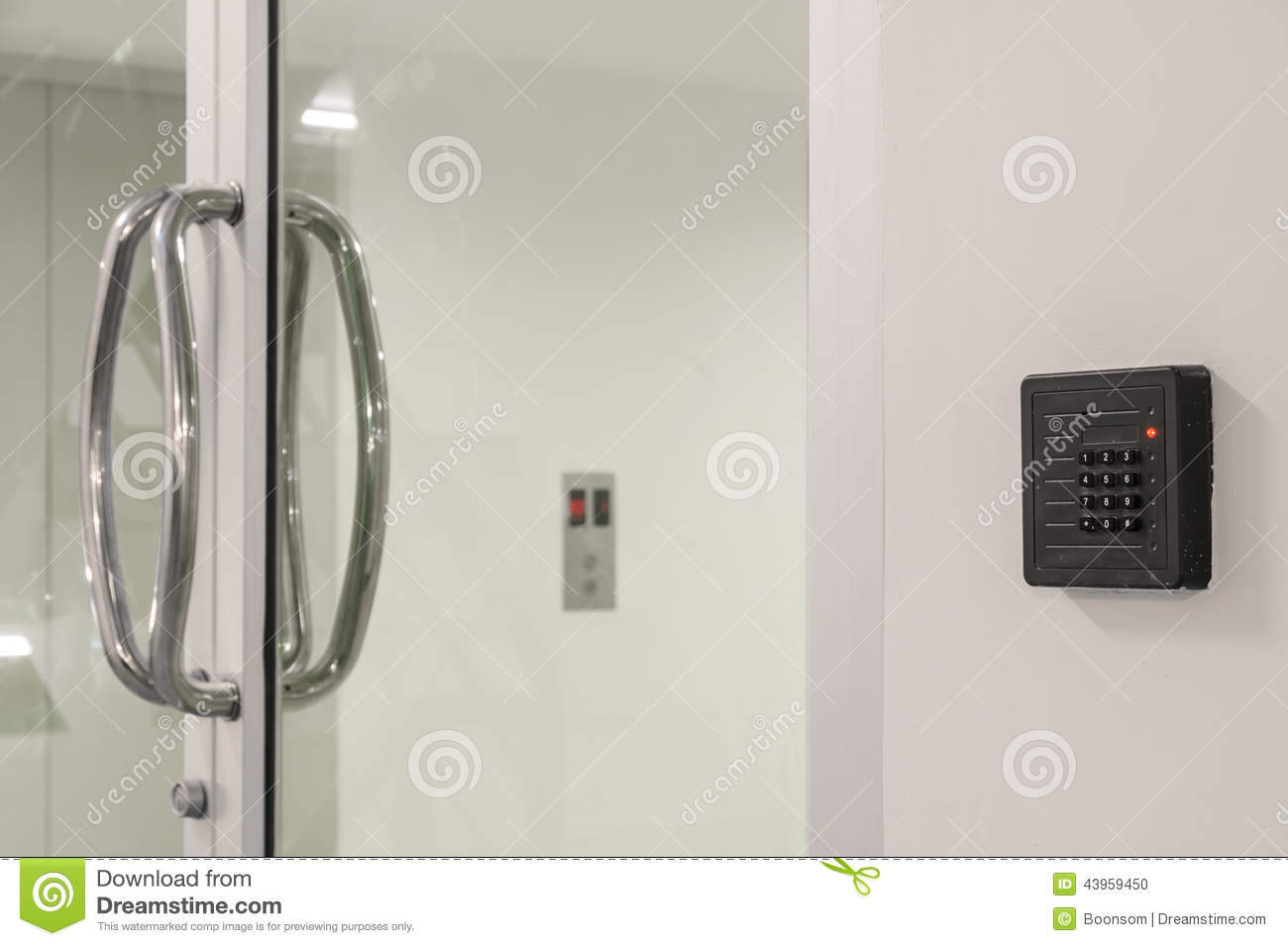 Glass Door With Keypad Stock Photo Image Of Glass