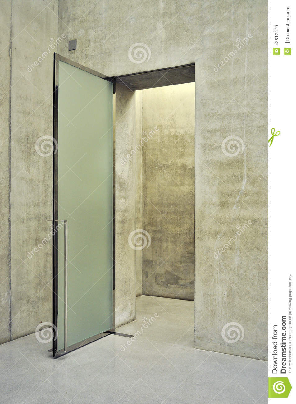 Glass door stock photo image of concrete metal modern for Glass door frame