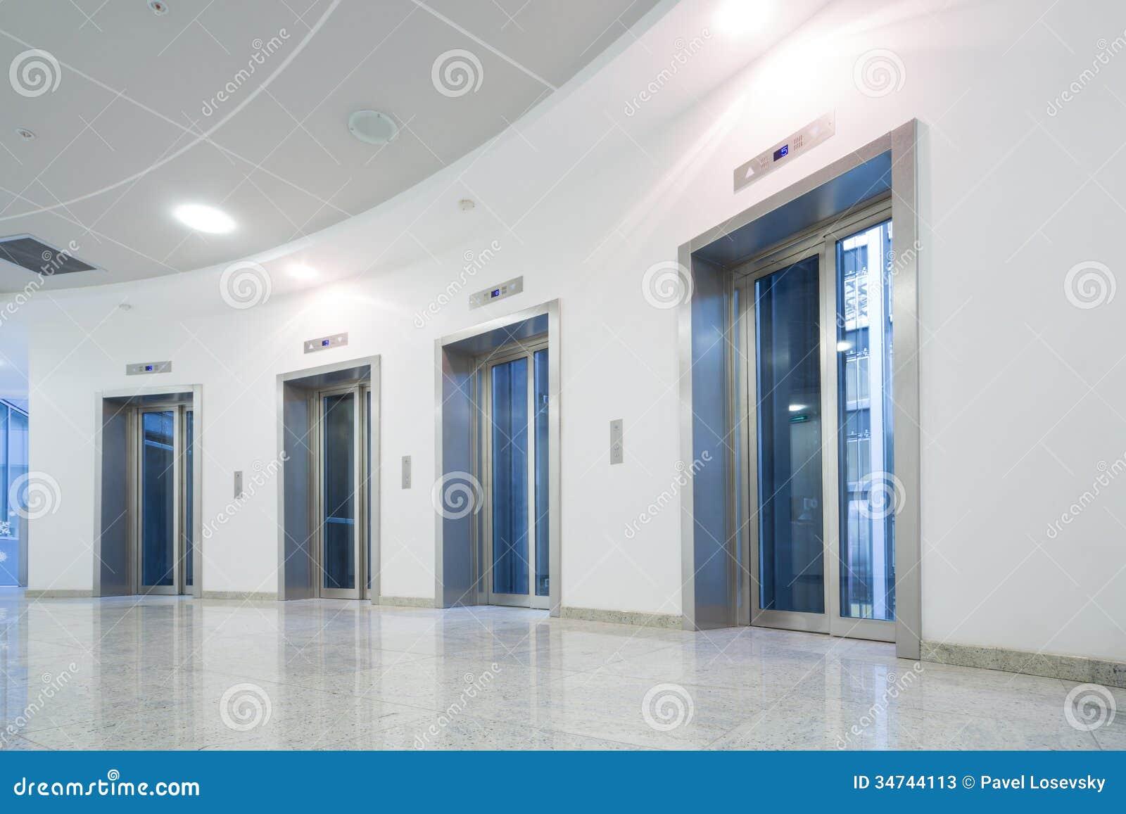 Glass Elevator Door In The Business Building Stock Image