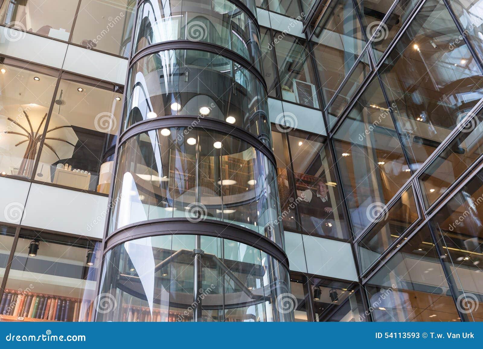 Glass Elevator In Shopping Mall Europassage In Hamburg