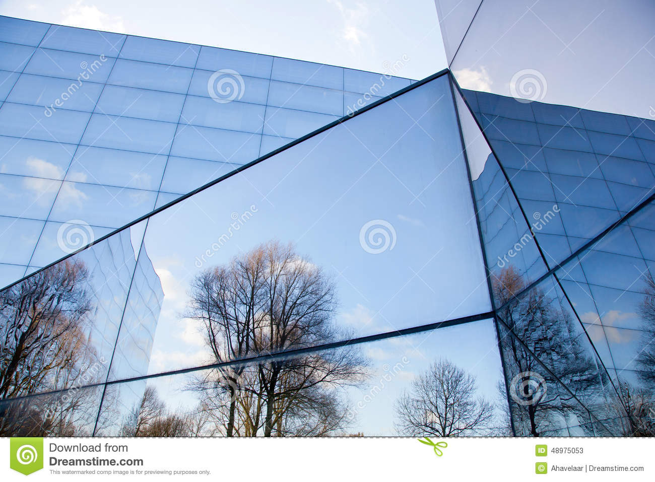 Glass Facades Of Modern Office Building And Reflection Of ...