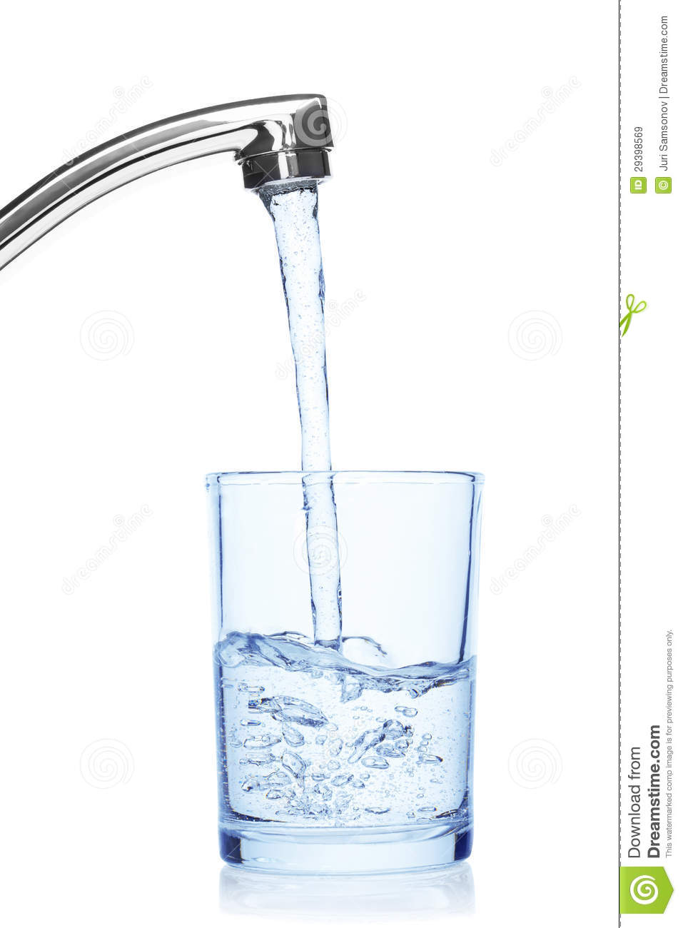 Glass Filled With Drinking Water From Tap Royalty Free