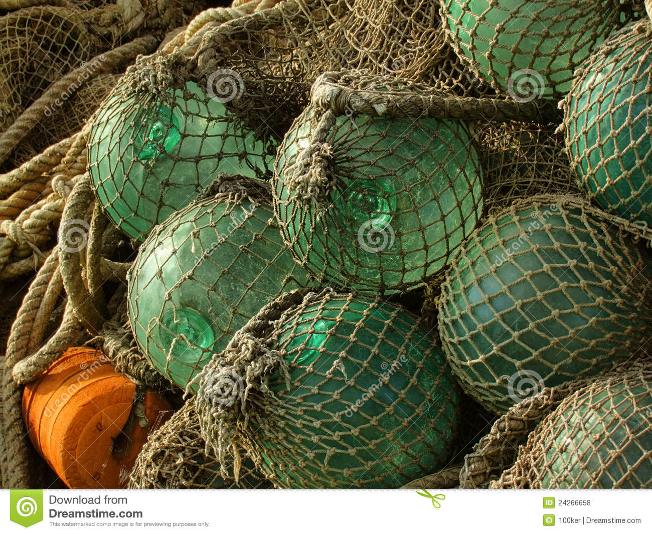 Glass float old fishing nets stock photo image 24266658 for Fishing net floats