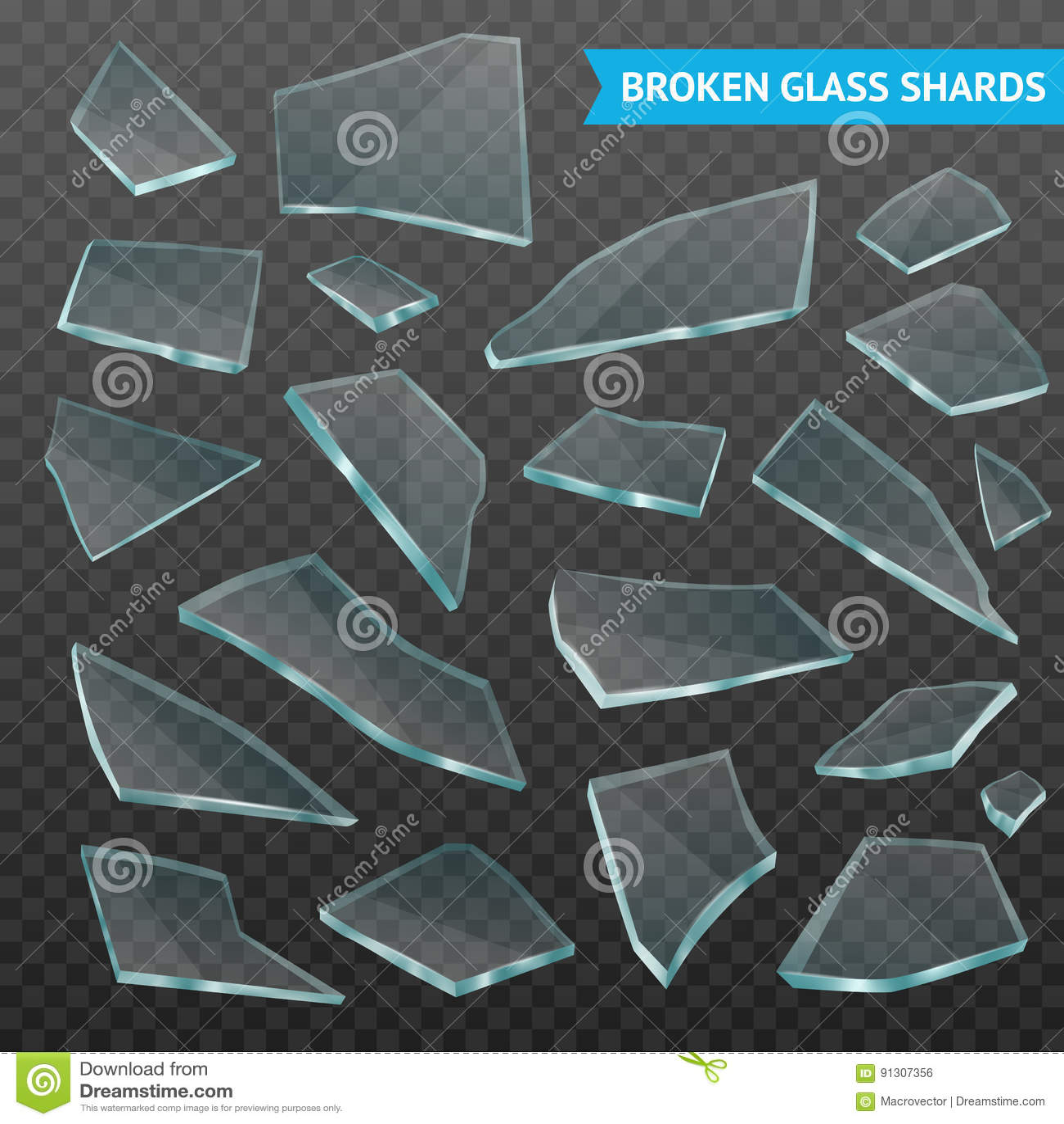 Glass Fragments Realistic Dark Transparent Set Stock ...